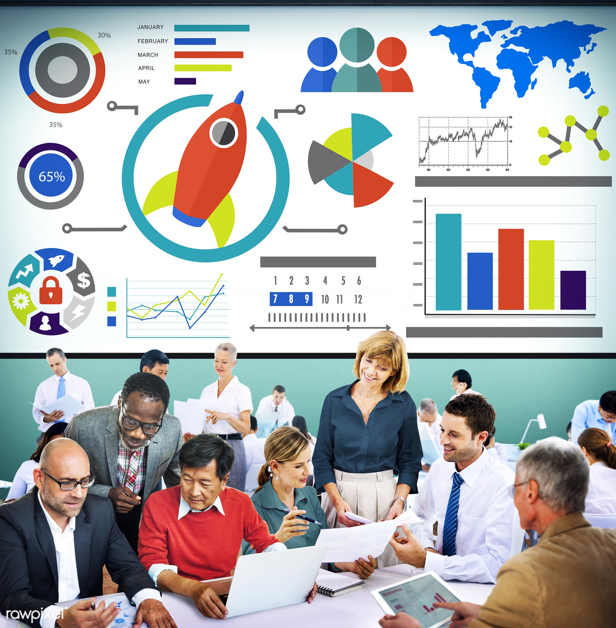 accounting, analysis, bar graph, business, business people, businessmen, businesswomen, busy, chart, colorful, communication...