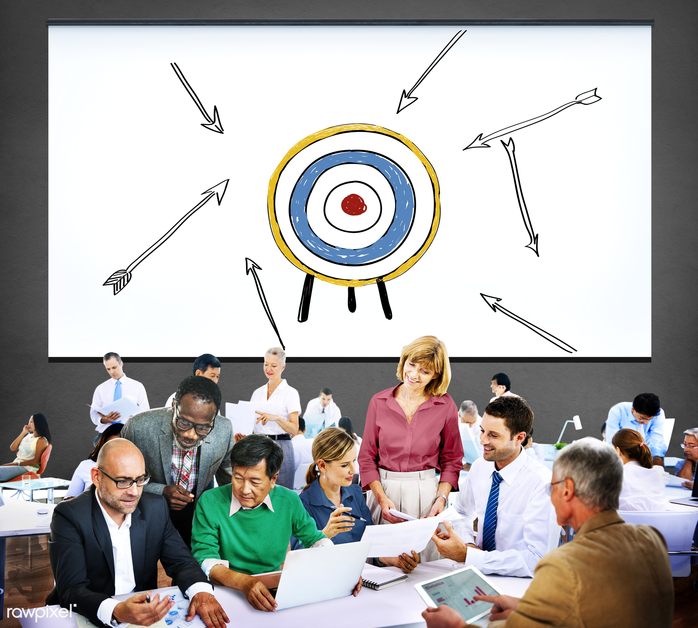 aim, analysis, anticipation, aspiration, believe, bulls eye, business, business people, businessmen, businesswomen, busy,...