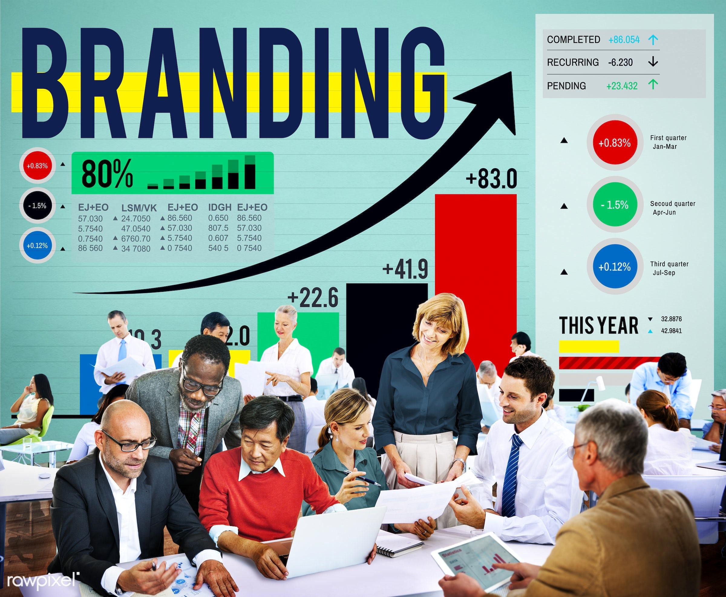 advertising, analysis, badge, banner, bar graph, brand, brand name, branding, business, business people, businessmen,...
