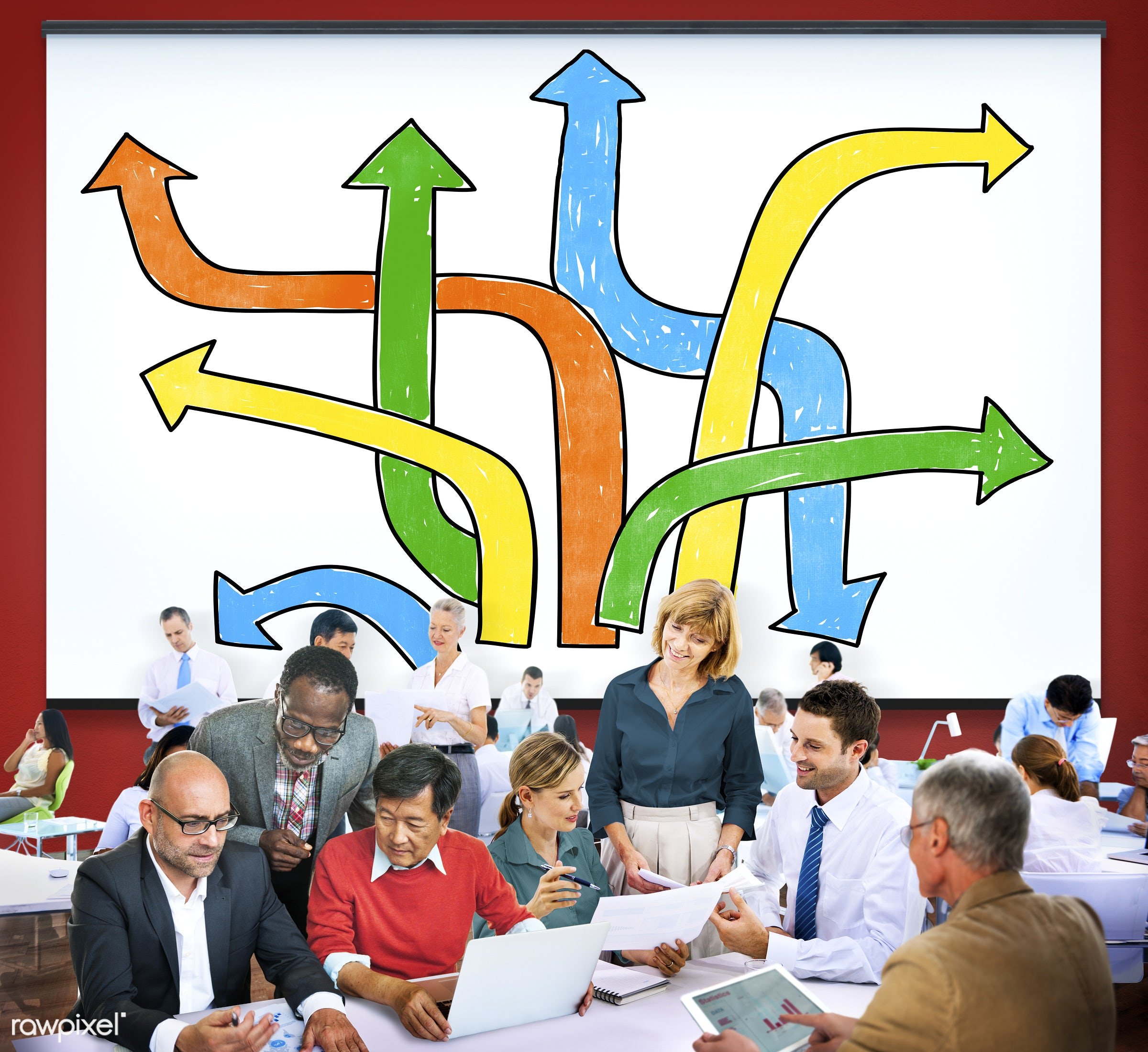 analysis, approach, arrow sign, business, business people, businessmen, businesswomen, busy, chance, change, choice,...