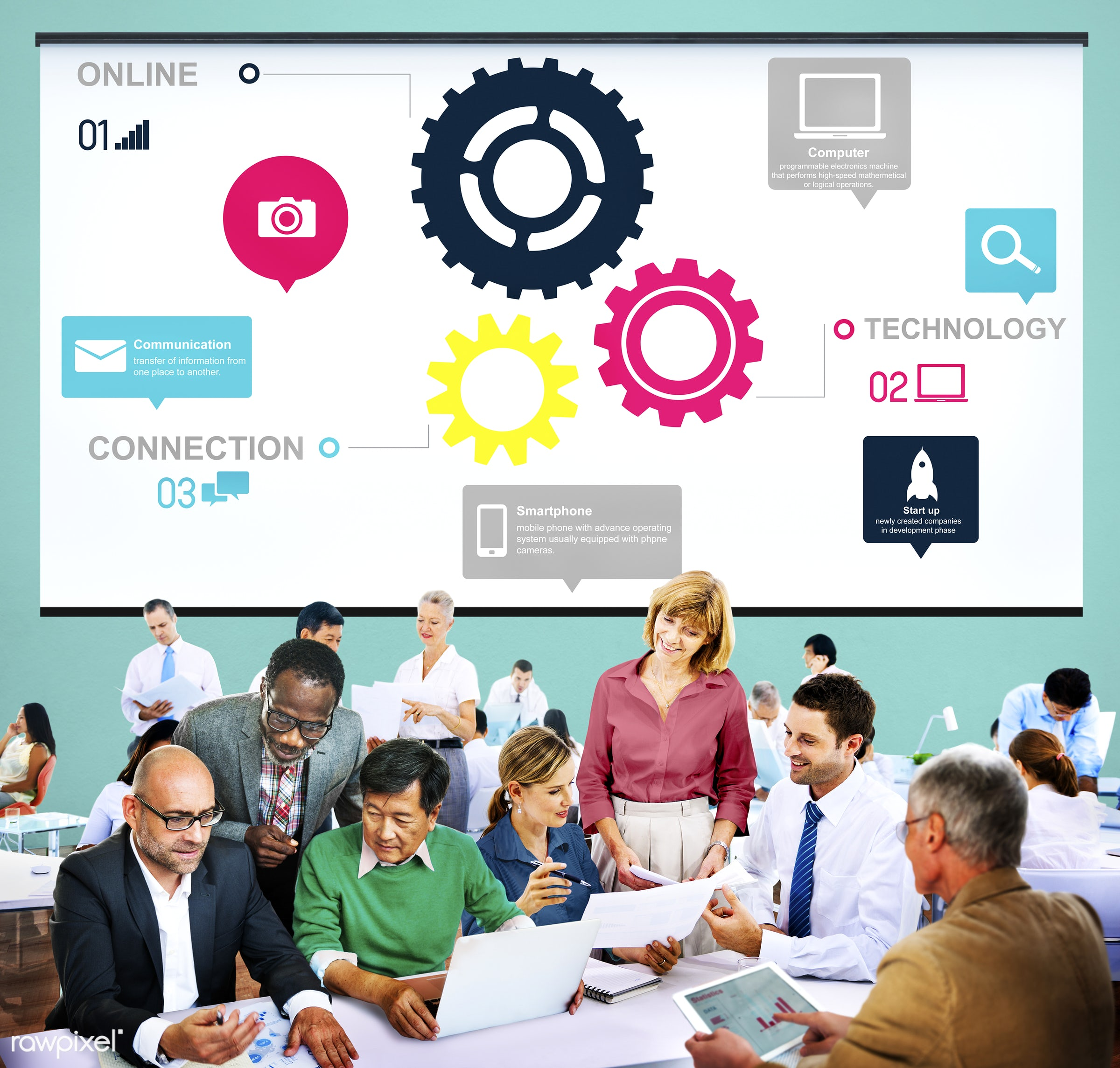 analysis, business, business people, businessmen, businesswomen, busy, cog, collaboration, communication, connection,...