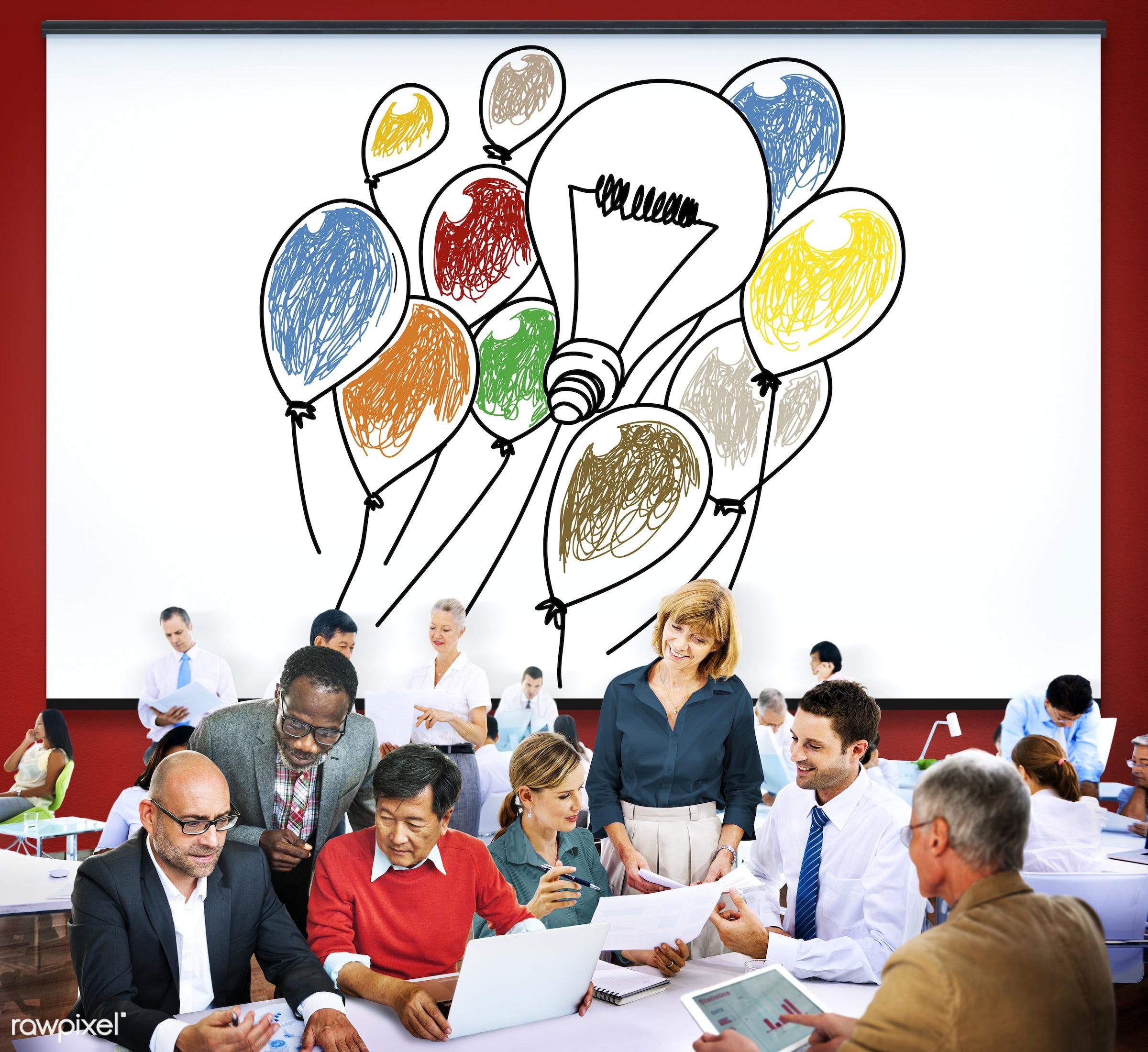 analysis, balloons, brainstorm, brainstorming, business, business people, businessmen, businesswomen, busy, communication,...