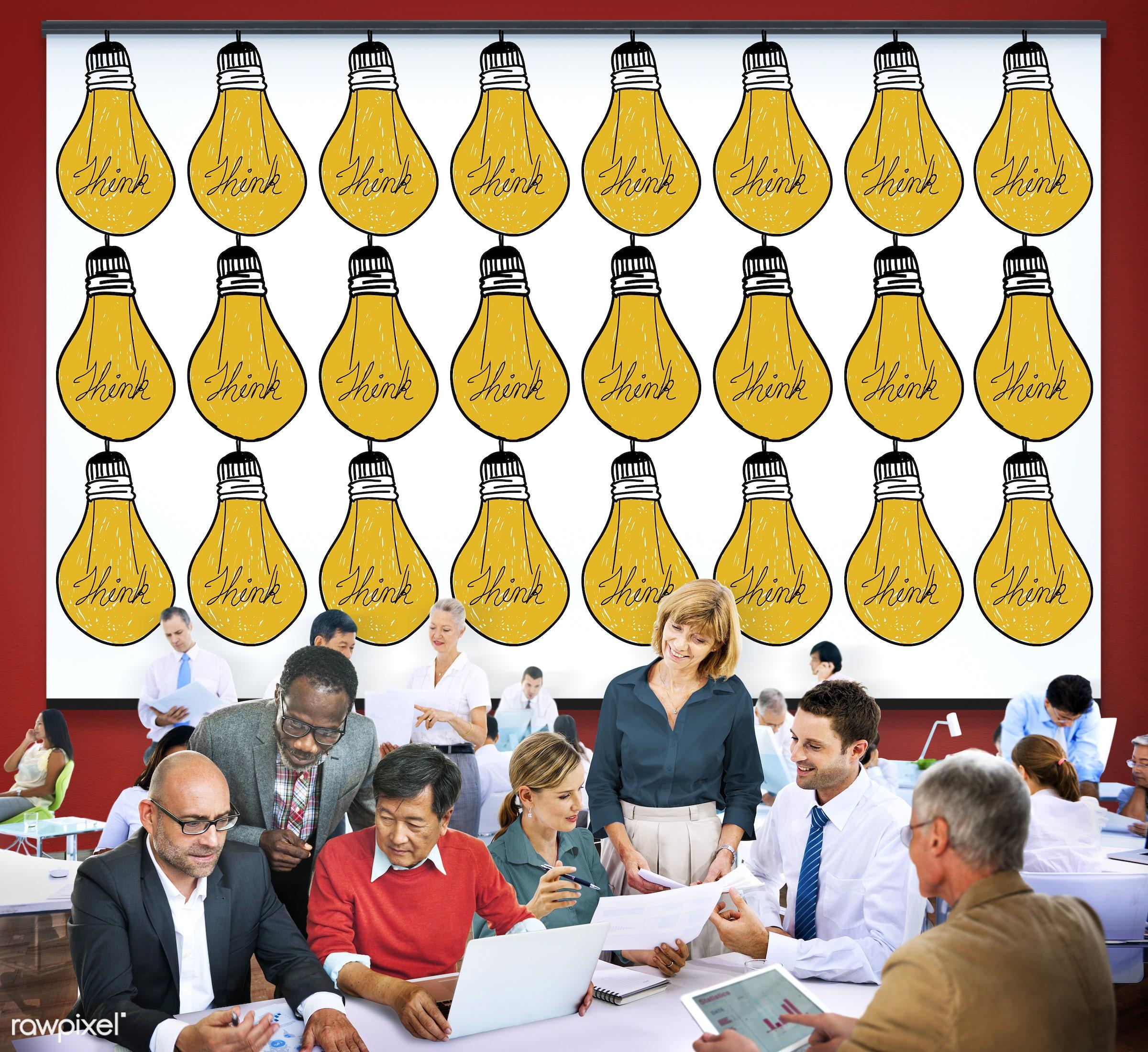 analysis, aspirations, bulb, business, business people, businessmen, businesswomen, busy, communication, conversation,...