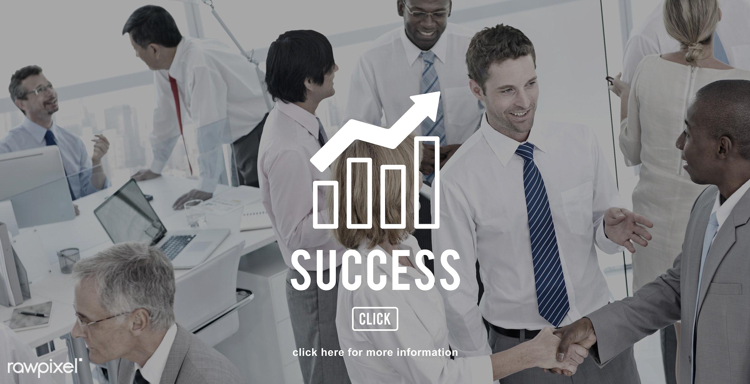 achievement, african descent, aim, asian ethnicity, business, businessmen, businesswomen, chart, city, communication,...