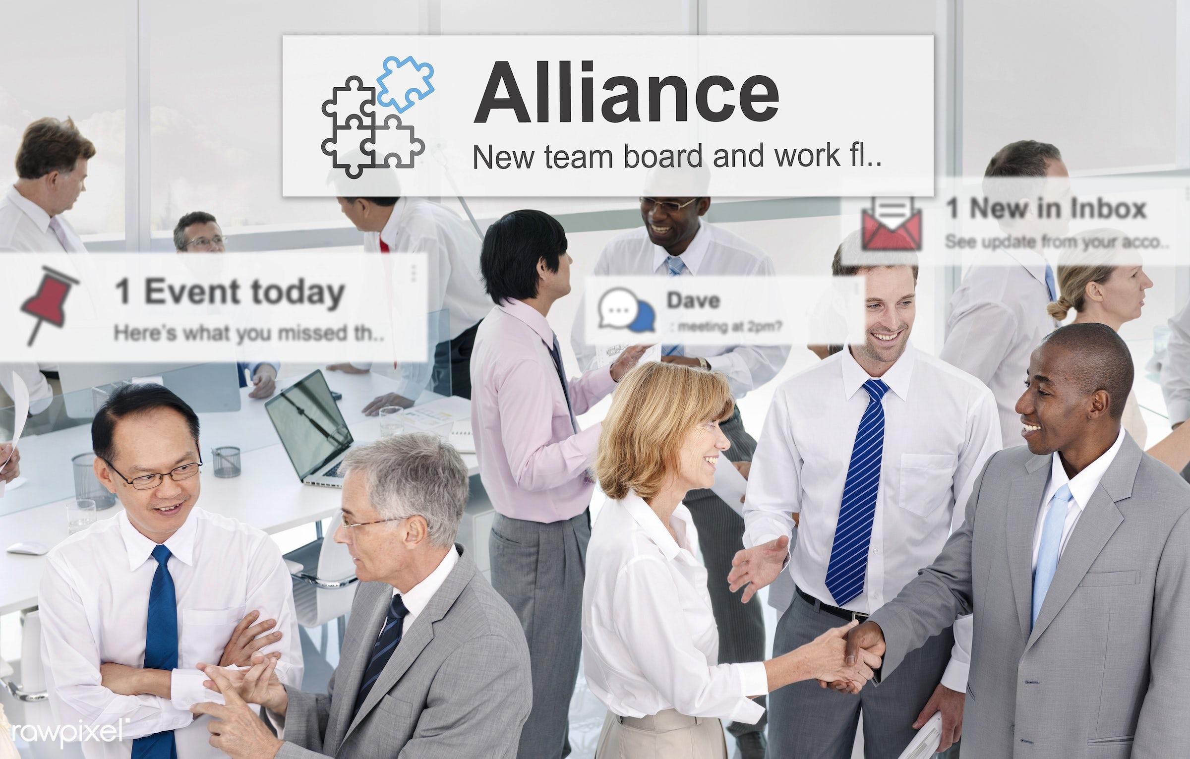 affiliate, african descent, alarm, alerts, alliance, allies, asian ethnicity, business, businessmen, businesswomen, city,...