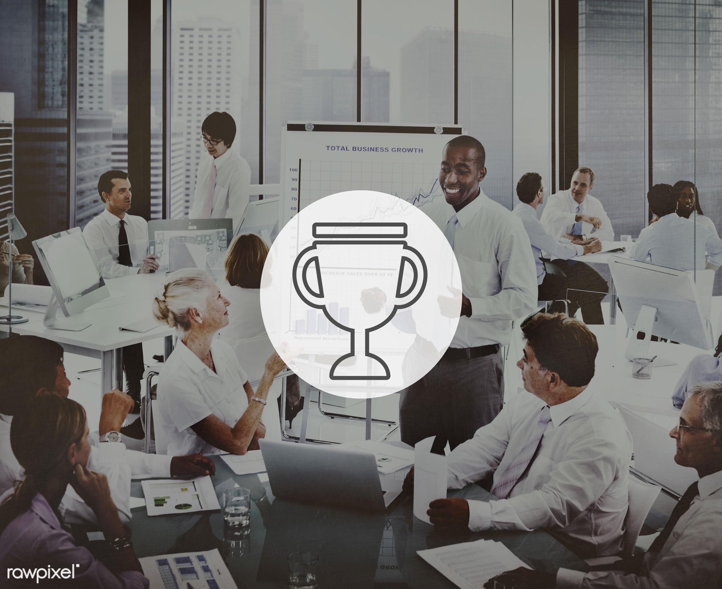 achievement, african descent, asian ethnicity, aspirations, award, brainstorming, business, businessmen, businesswomen,...