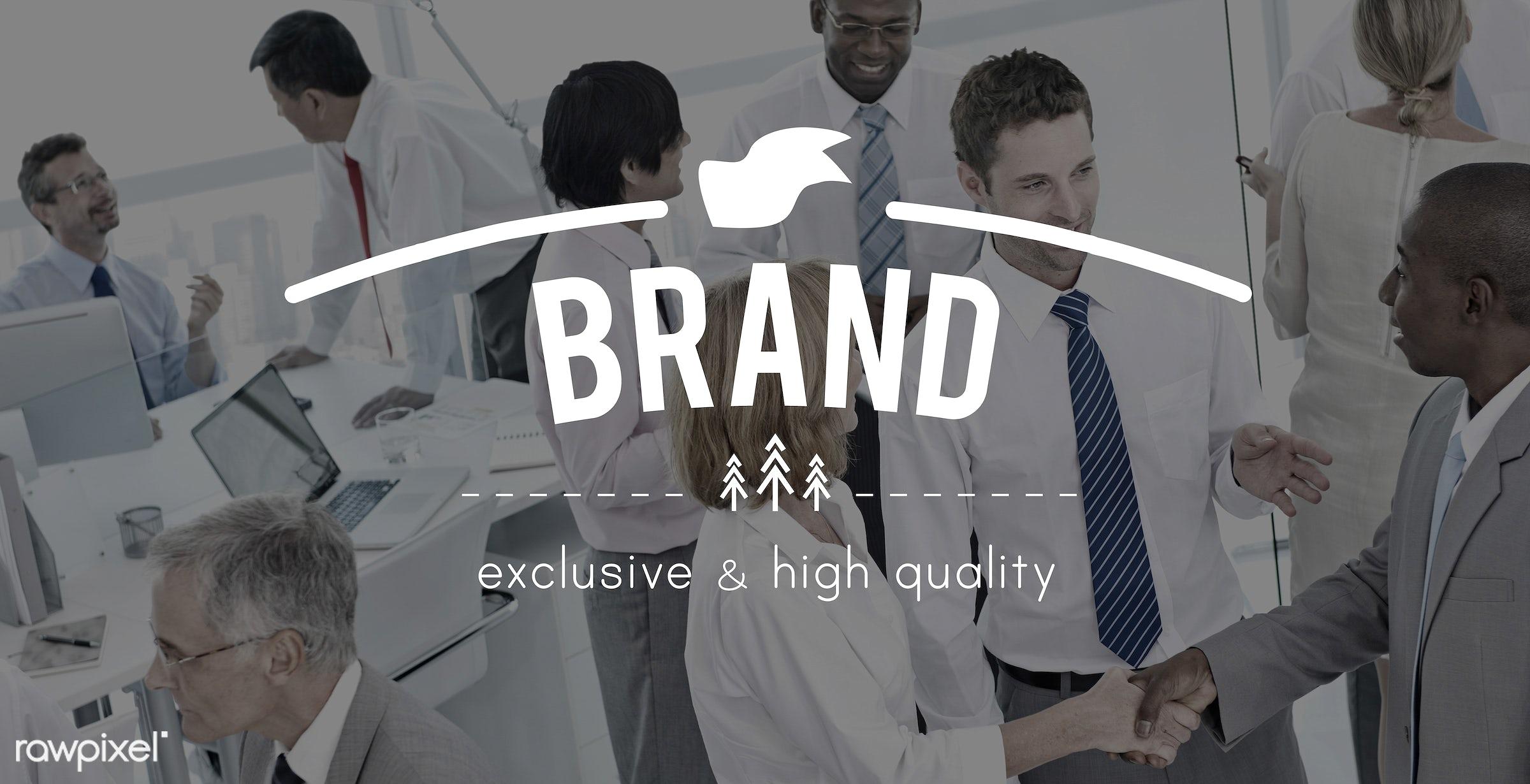 advertising, african descent, asian ethnicity, badge, brand, brand name, branding, business, businessmen, businesswomen,...