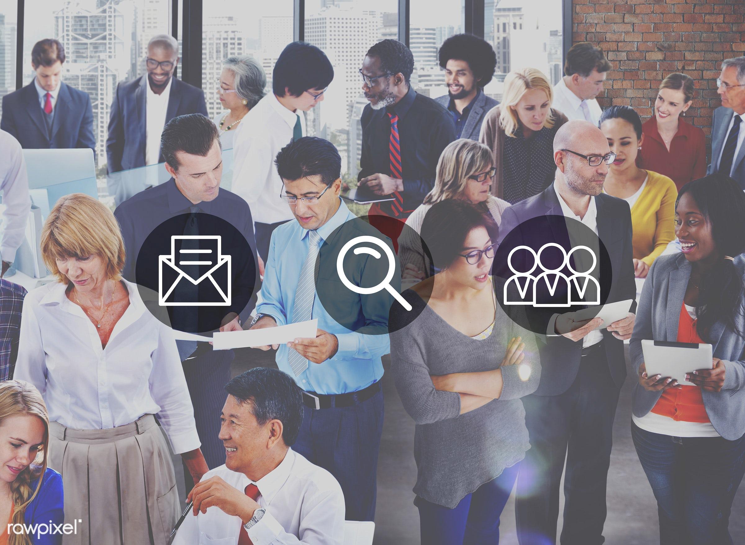 african descent, asian ethnicity, business, businessmen, businesswomen, busy, communication, community, connection,...