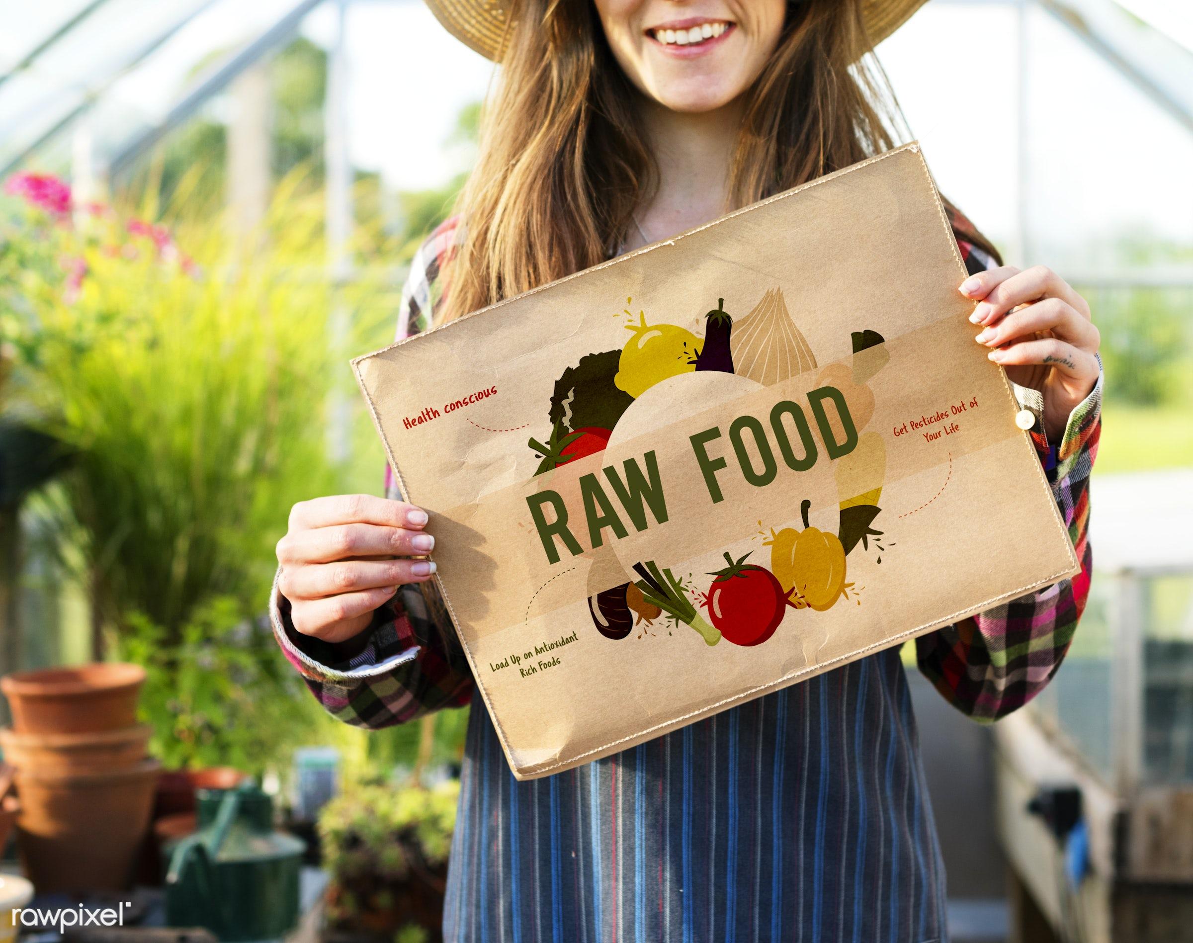 adult, antioxidants, care, caucasian, conscious, countryside, dark blonde, diet, eating, farm, female, flowers, food, fresh...