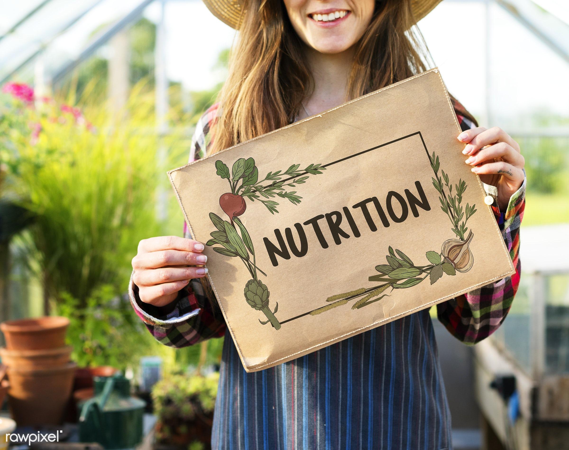 adult, caucasian, choice, countryside, dark blonde, diet, eat, eating, farm, female, flowers, food, gardening, glasshouse,...