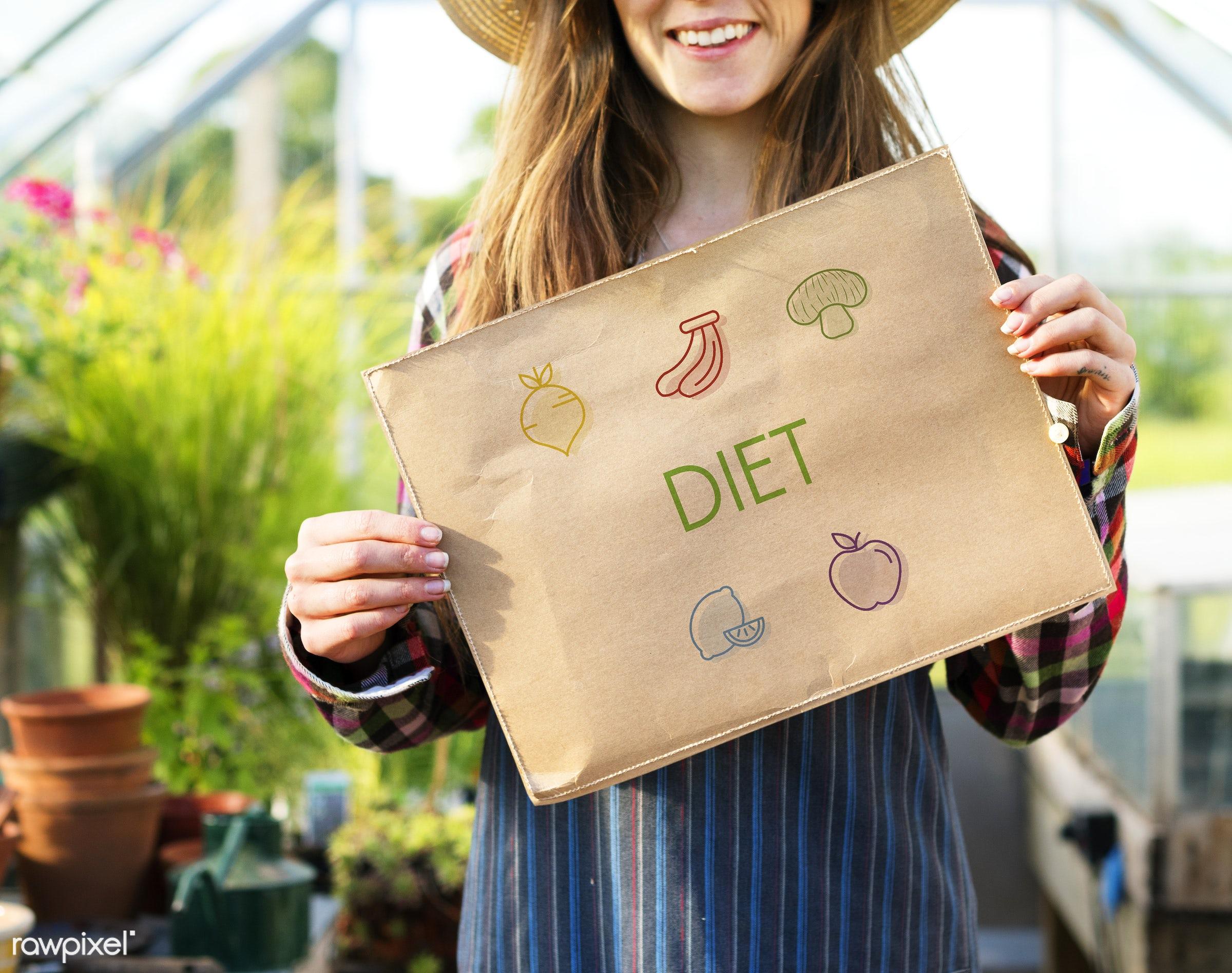 adult, antioxidants, balance, caucasian, countryside, dark blonde, diet, diversity, eating, farm, female, flowers, food,...