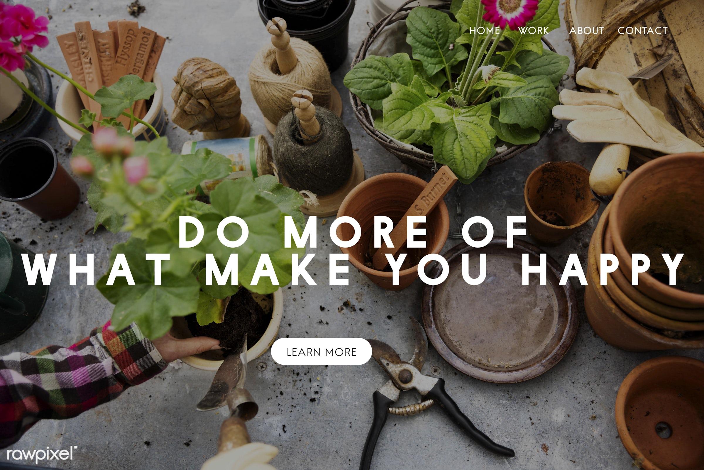 aim, apron, aspirations, attitude, caucasian, dark blonde, development, female, flowerpot, flowers, garden, gardener,...