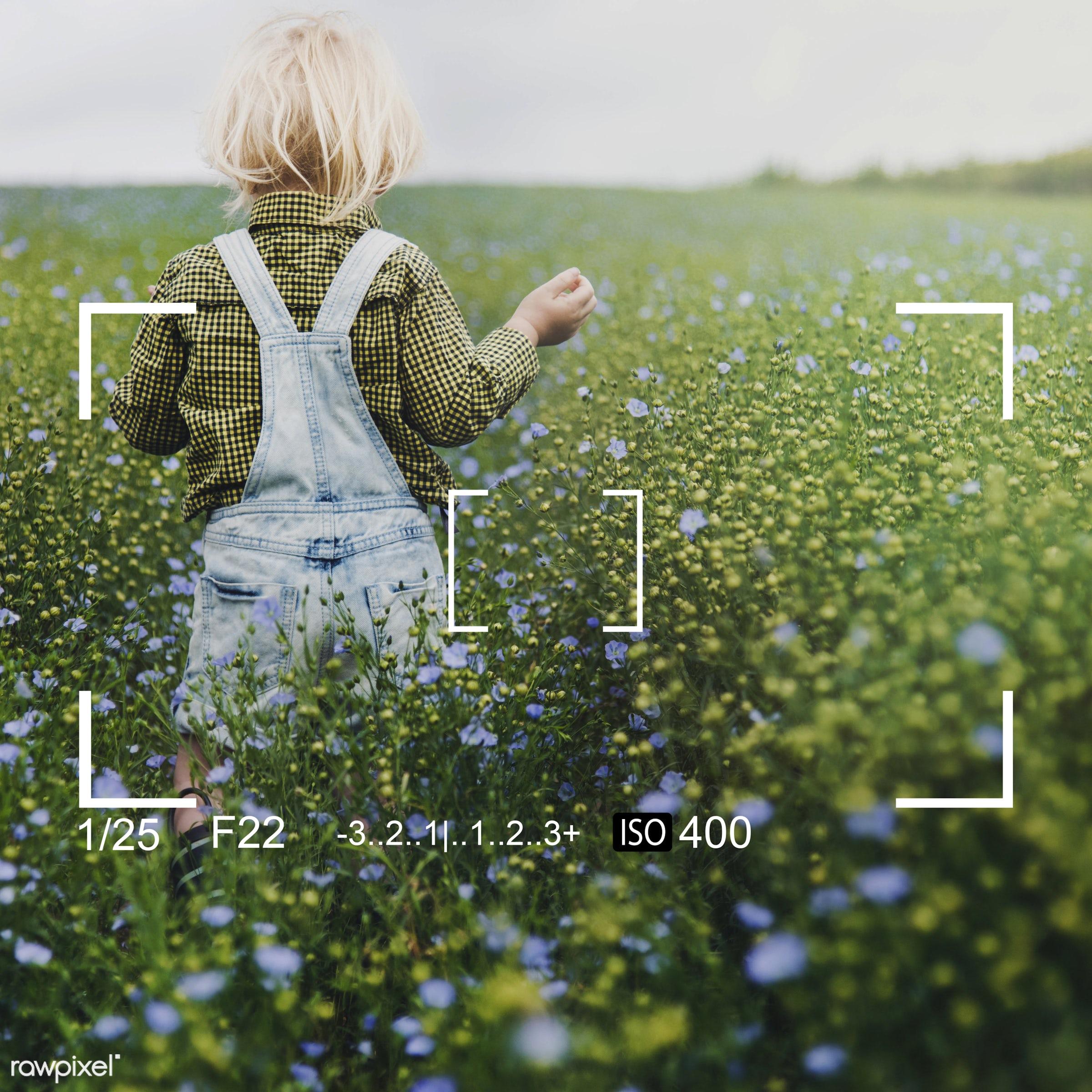Kids and nature - badge, banner, blank, blonde, boy, camera, copy space, dungarees, flower garden, flowers, focus, garden,...