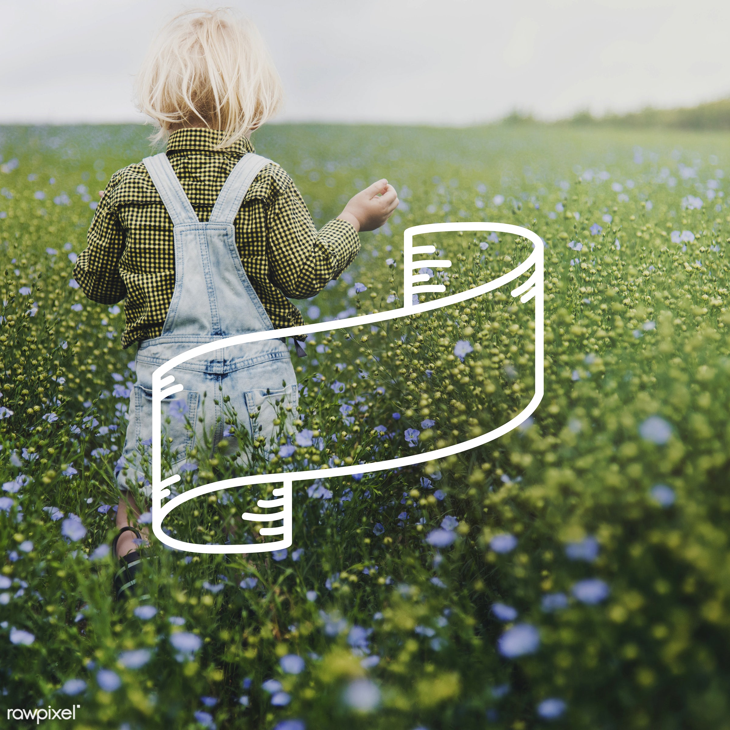 badge, banner, blank, blonde, boy, caucasian, copy space, dungarees, flower garden, flowers, garden, jeans, label, little,...