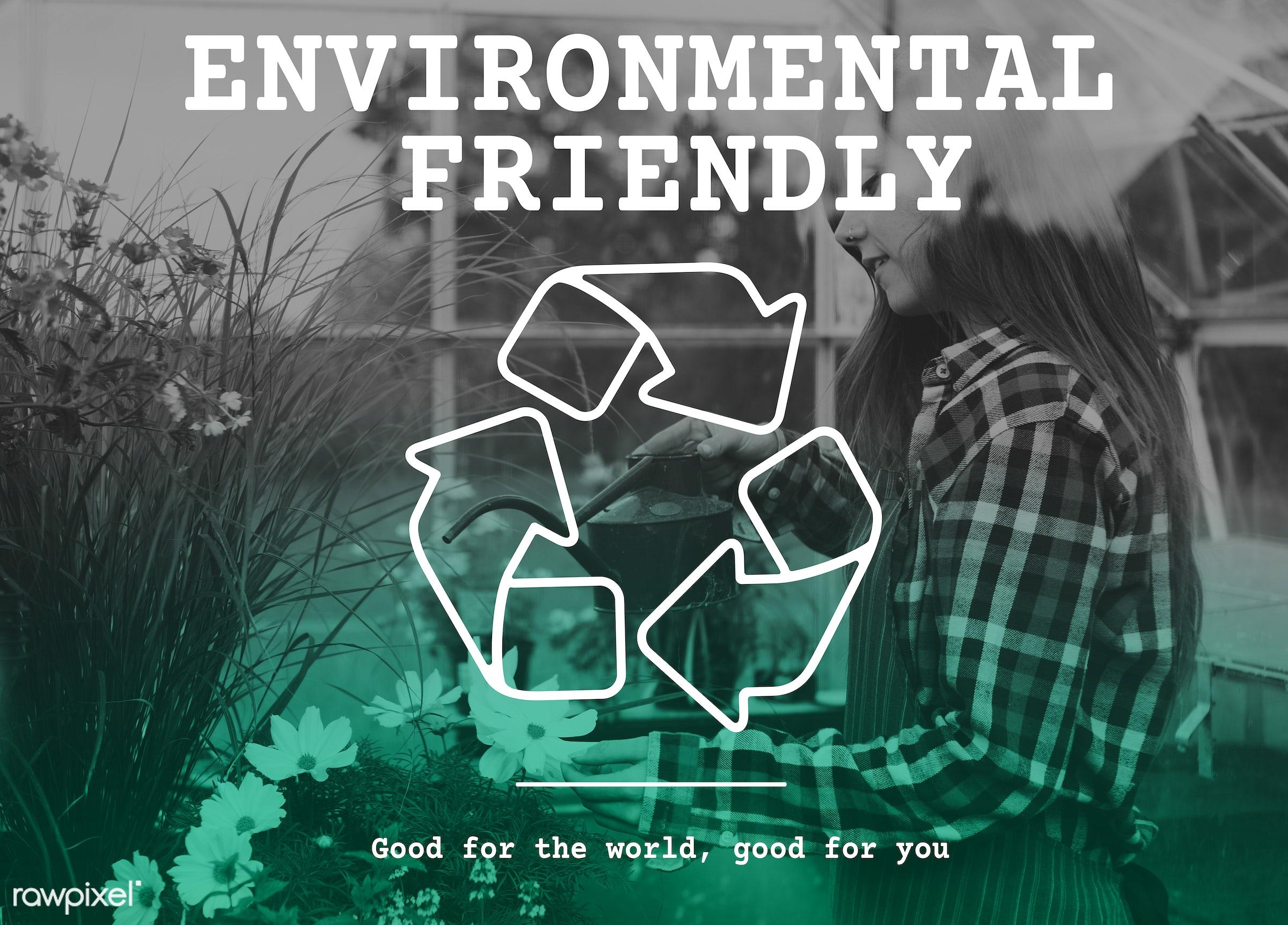 apron, arrows, caucasian, clean, conscious, dark blonde, earth, eco, ecology, environmental, female, flowers, fresh,...