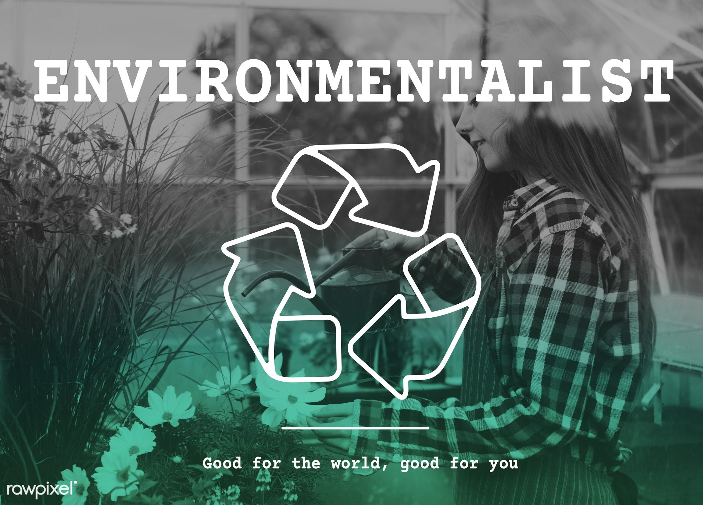 apron, arrows, caucasian, clean, conscious, dark blonde, earth, eco, ecology, environmental, environmentalist, female,...
