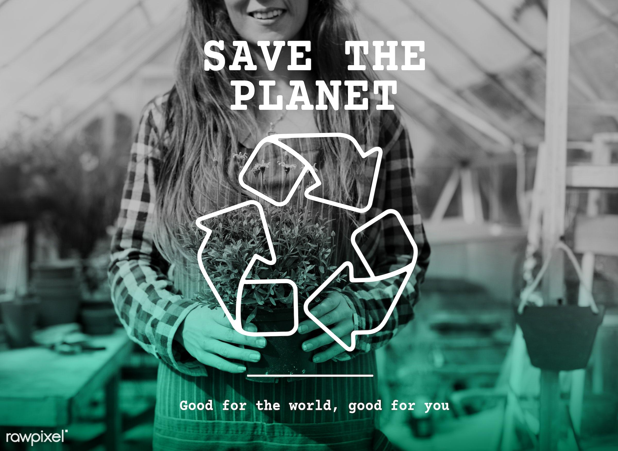 planet, apron, arrows, caucasian, clean, conscious, dark blonde, earth, eco, ecology, environmental, female, flowerpot,...