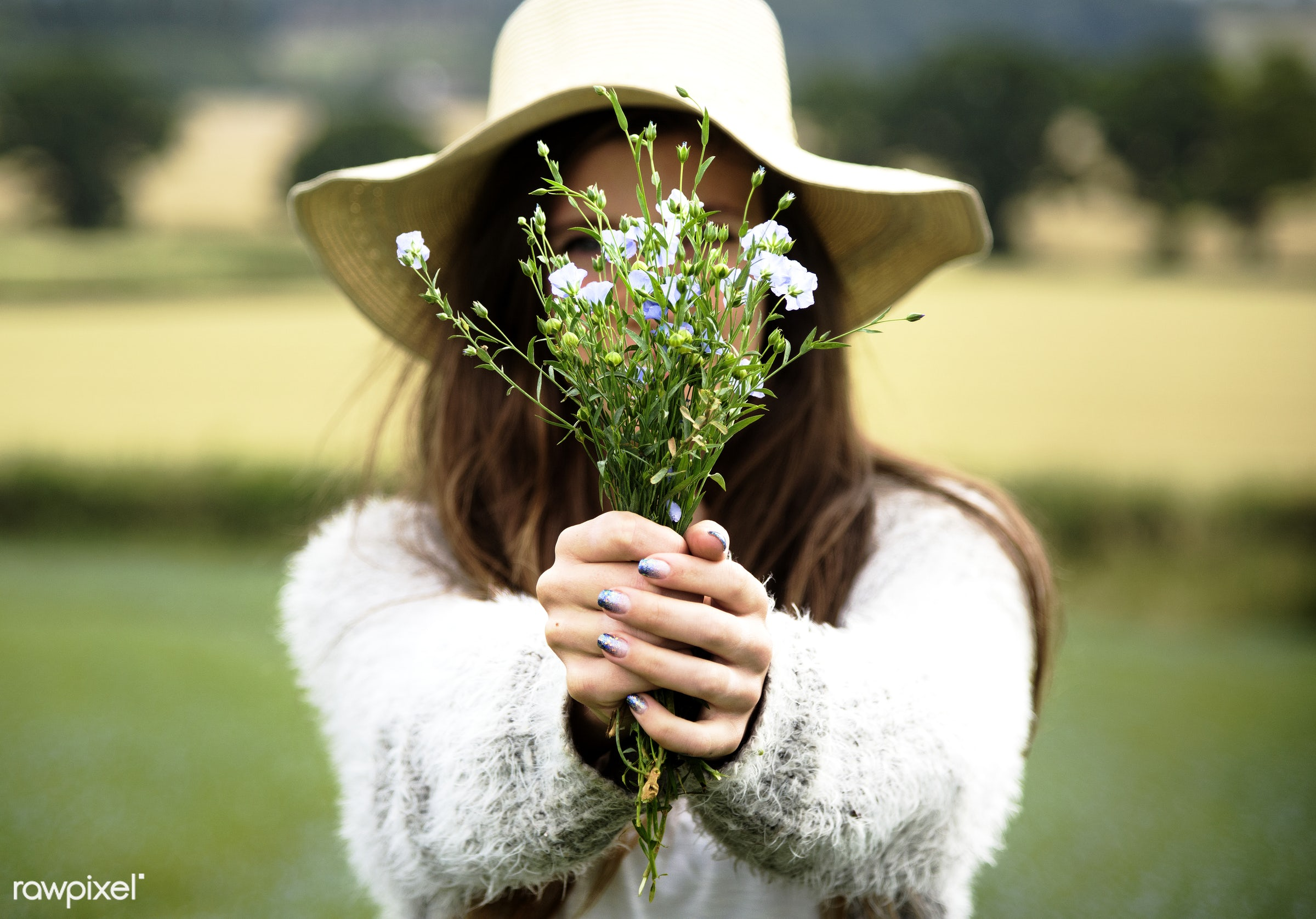 Woman and flowers - field, flower, nature, alone, bloom, blue, botanical, botany, countryside, flaxseed, flora, flowers,...