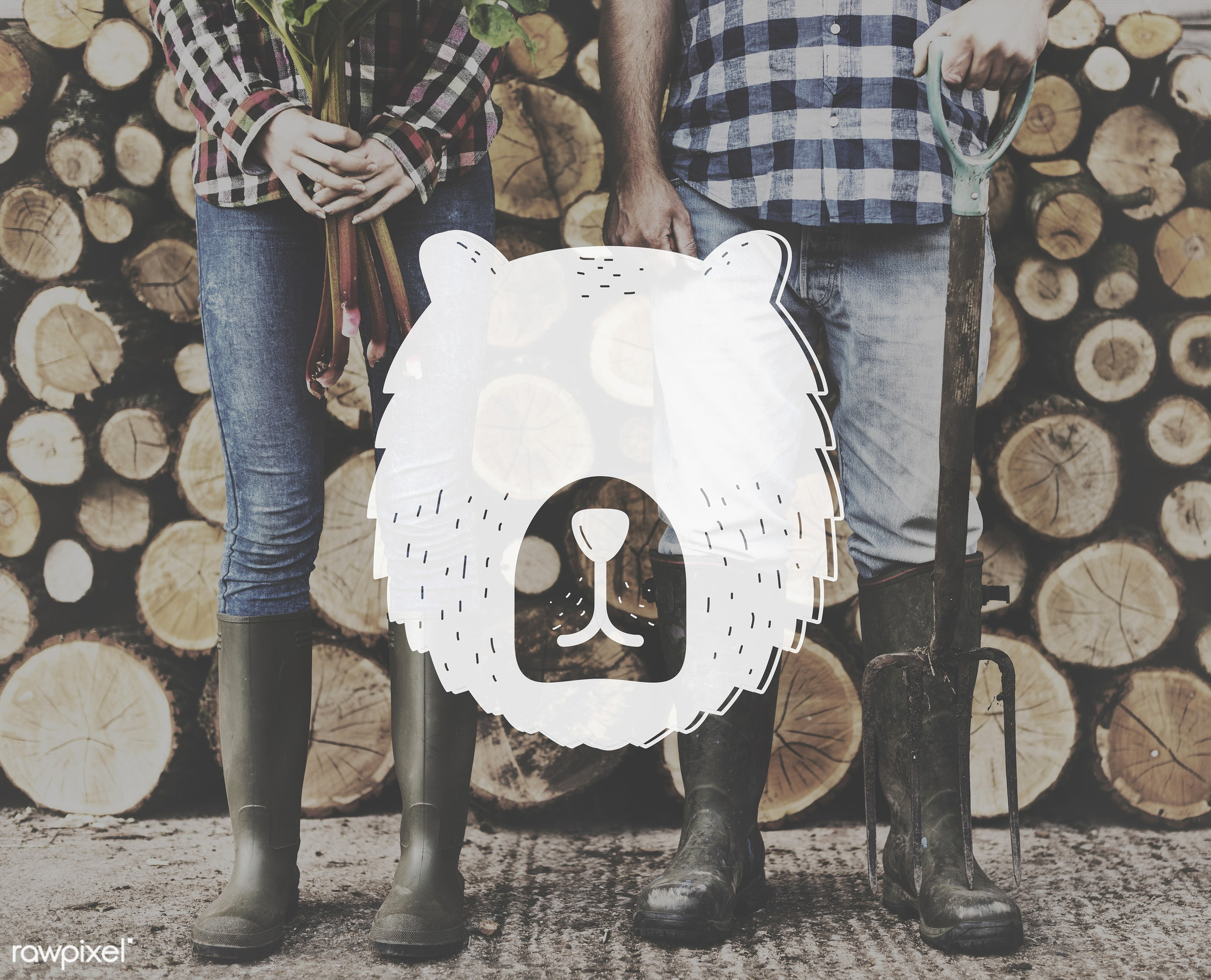 animal, badge, banner, beard, blank, caucasian, copy space, cute, farm, farmer, firewood, graphic, hands, holding, icon,...