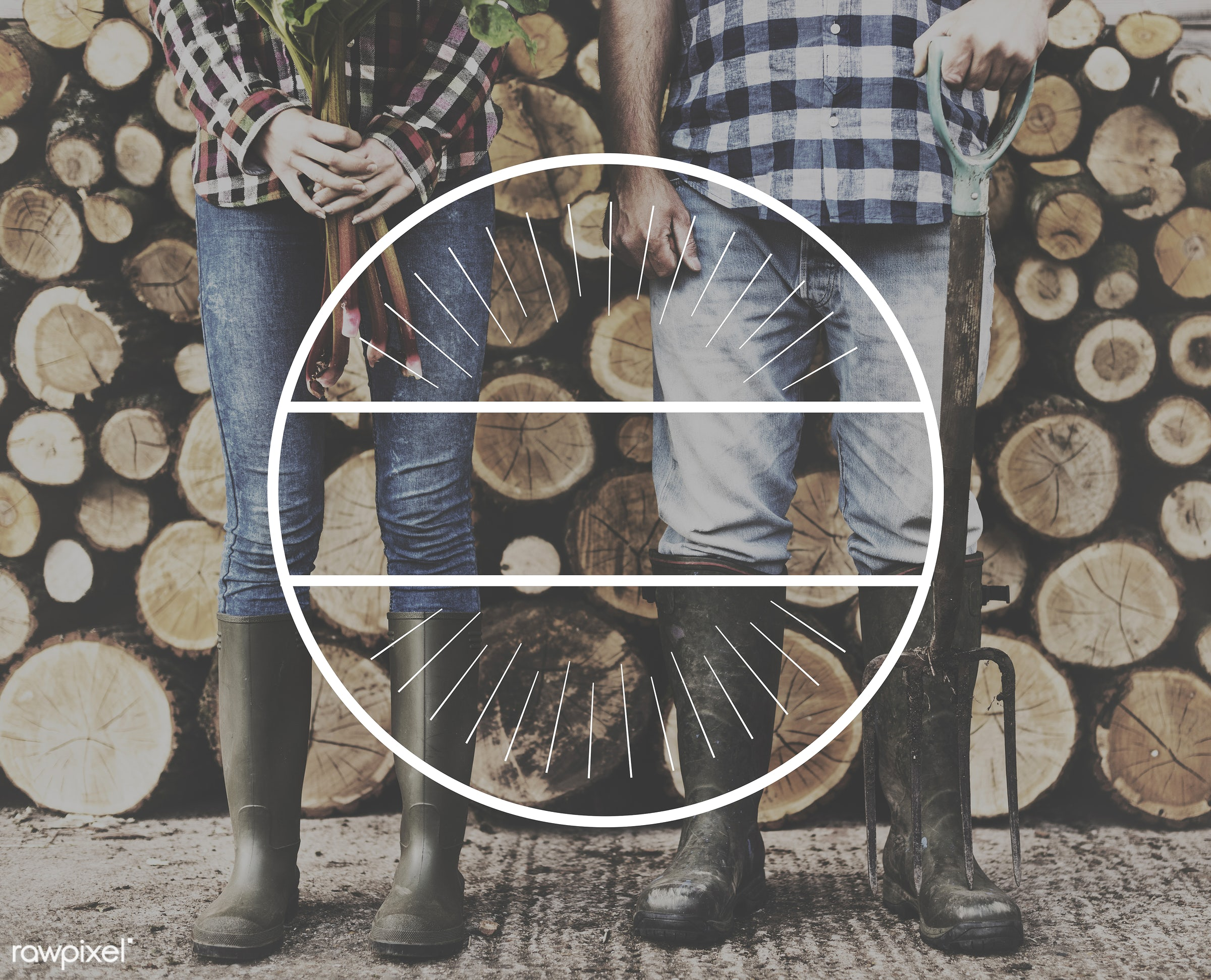 badge, banner, blank, caucasian, circle, copy space, farm, farmer, firewood, graphic, hands, holding, jeans, label, legs,...