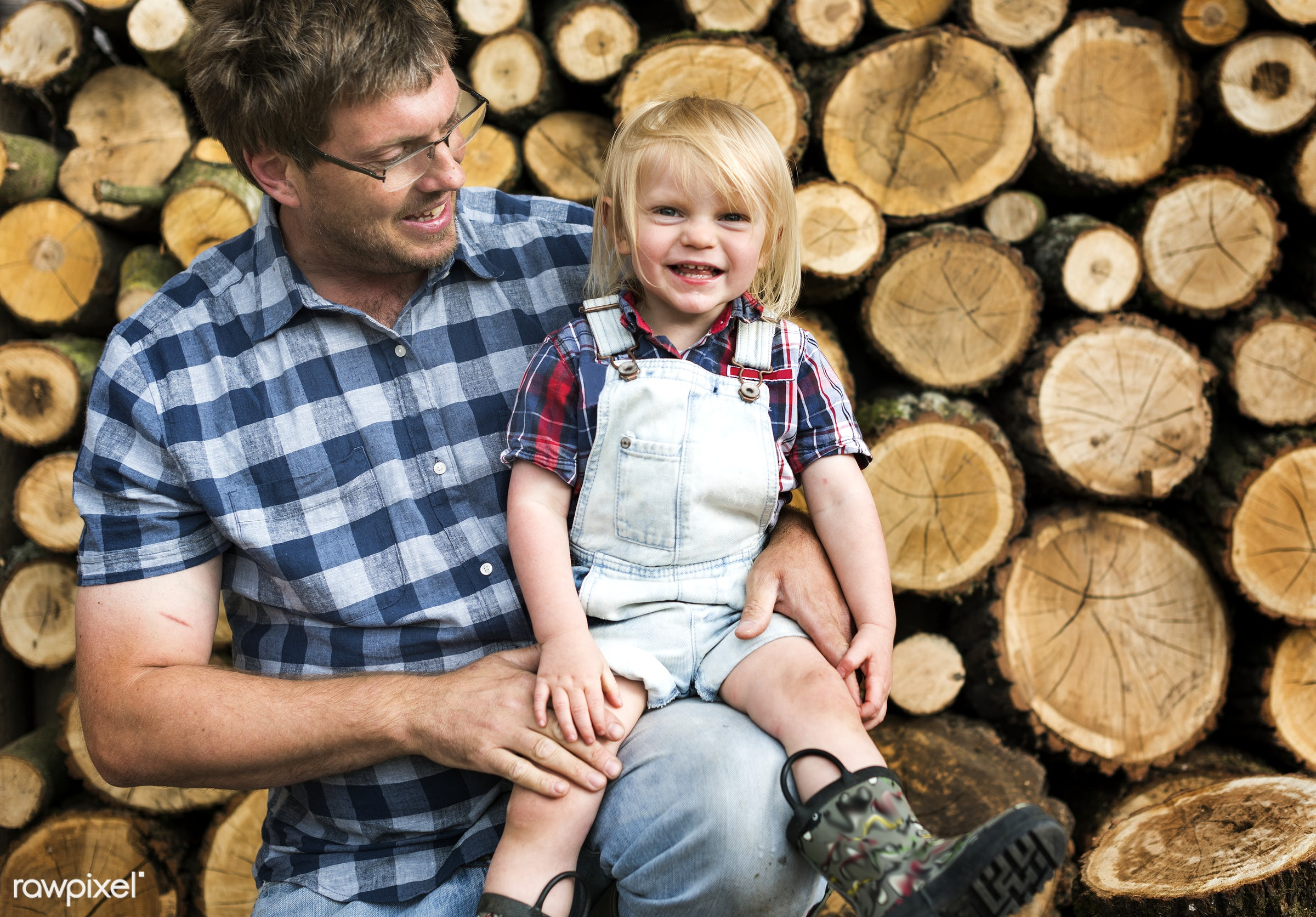 Farmer family - wood, farmer, boy, child, chopped, countryside, cut, dad, family, father, firewood, gardener, holding, kid,...