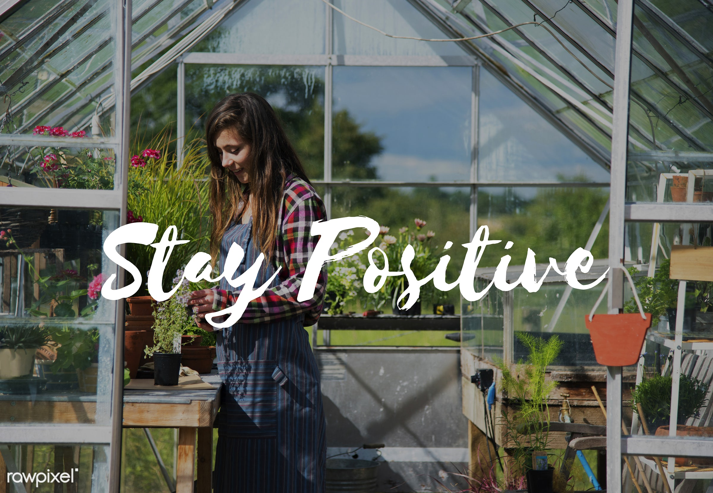 apron, be positive, better, caucasian, dark blonde, day, delightful, enjoy, enjoyment, female, flowers, garden, gardener,...