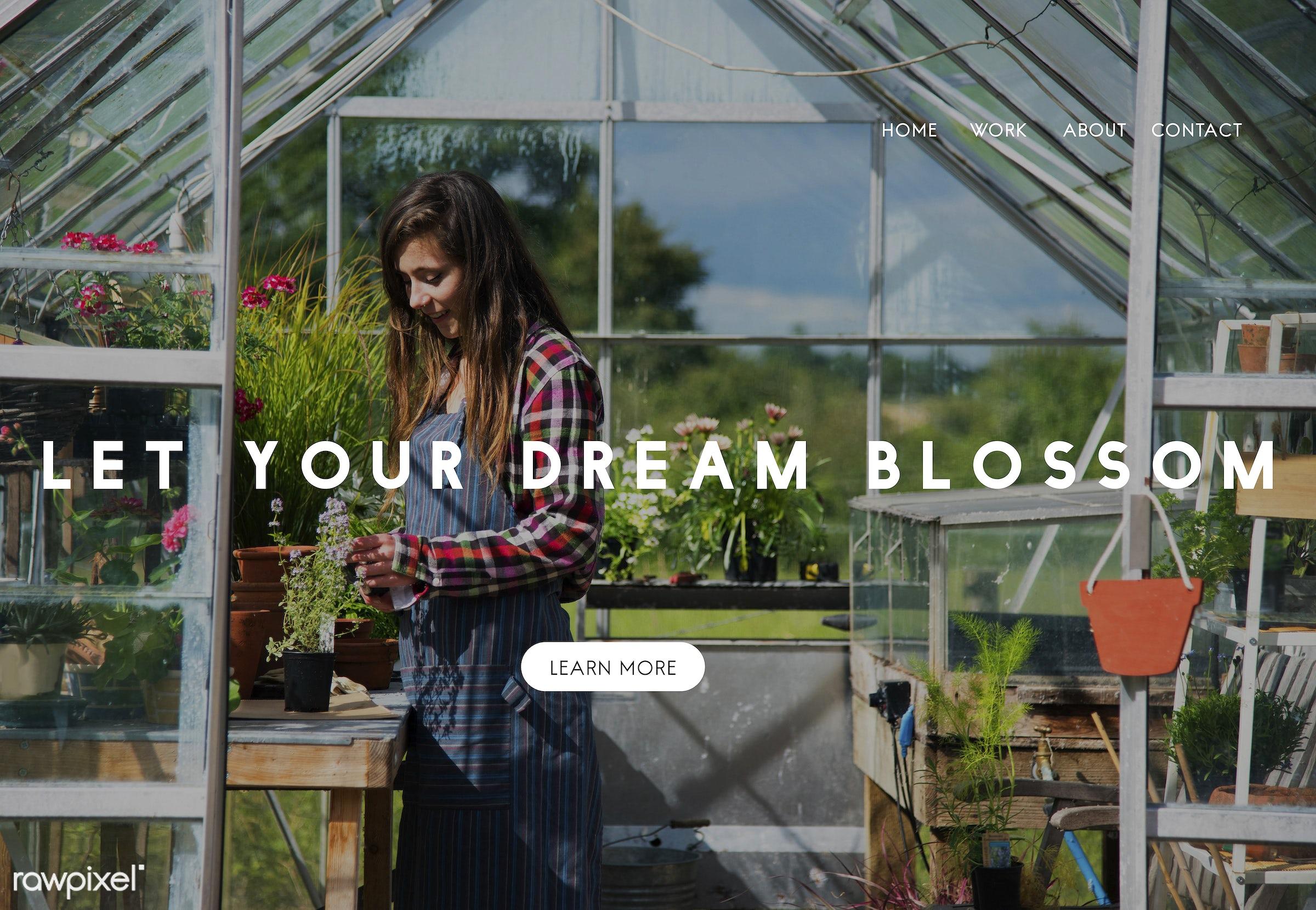 apron, aspirations, brainstorming, caucasian, change, dark blonde, development, dream, dreamer, female, flowers, future,...