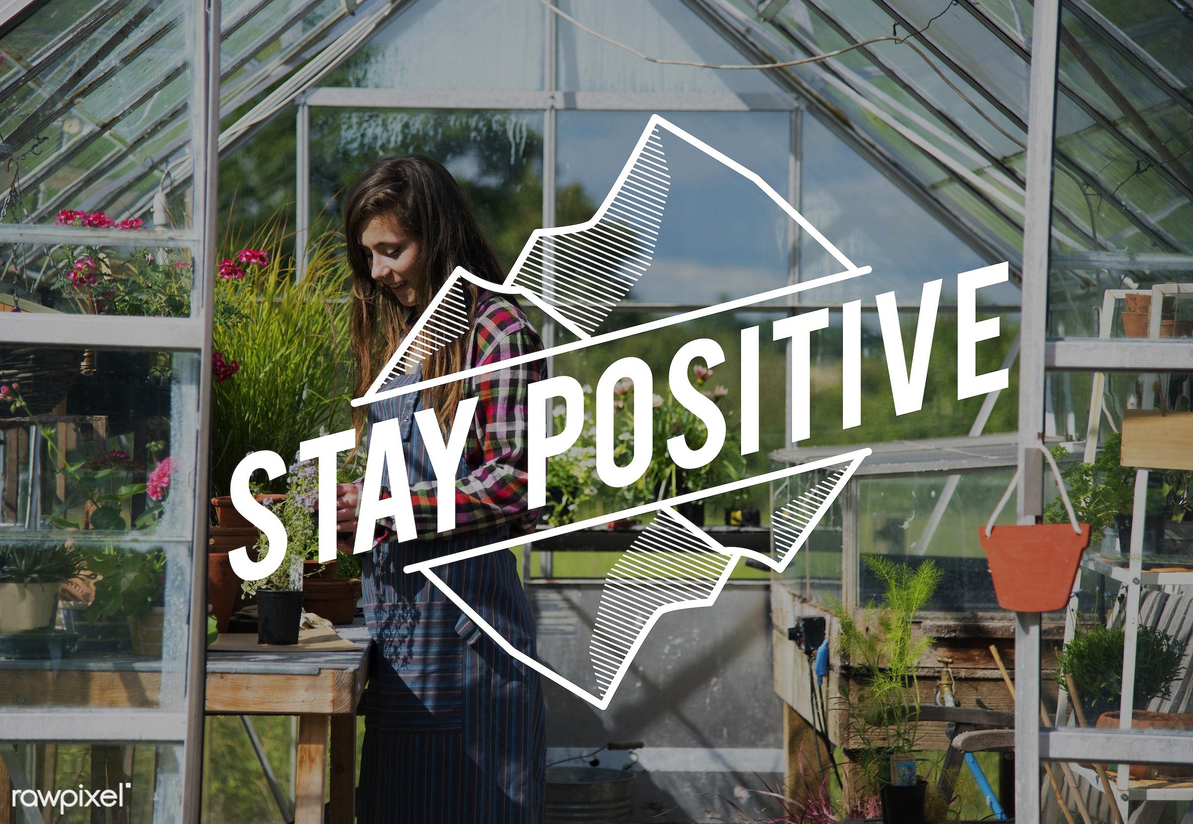 apron, be positive, better, caucasian, dark blonde, day, delightful, enjoy, enjoyment, female, flowers, garden, gardener,...