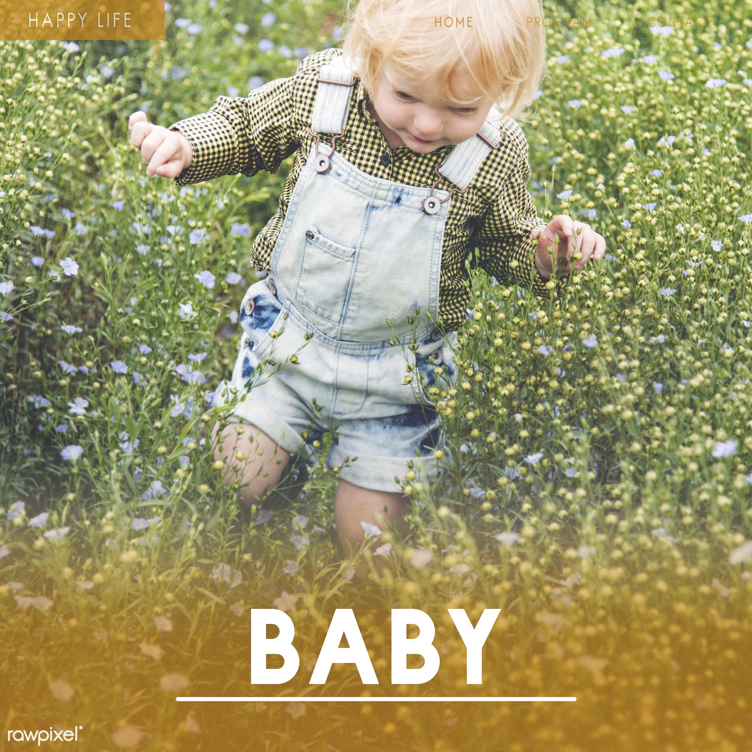 baby, adorable, blameless, blonde, boy, caucasian, child, childhood, children, curiosity, curious, cute, dungarees, flower...