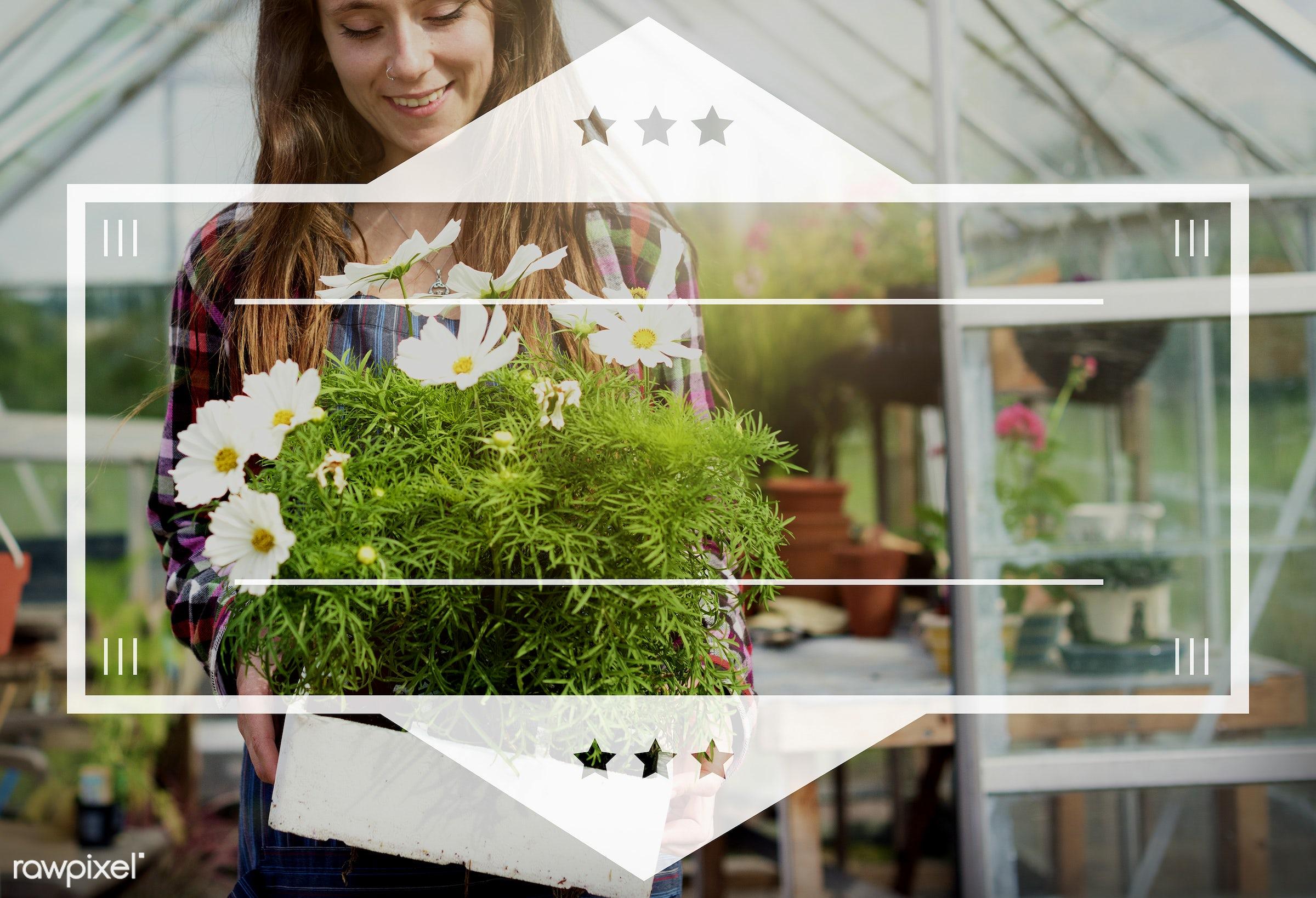 apron, badge, banner, blank, caucasian, copy space, dark blonde, female, flowerpot, flowers, garden, gardener, gardening,...