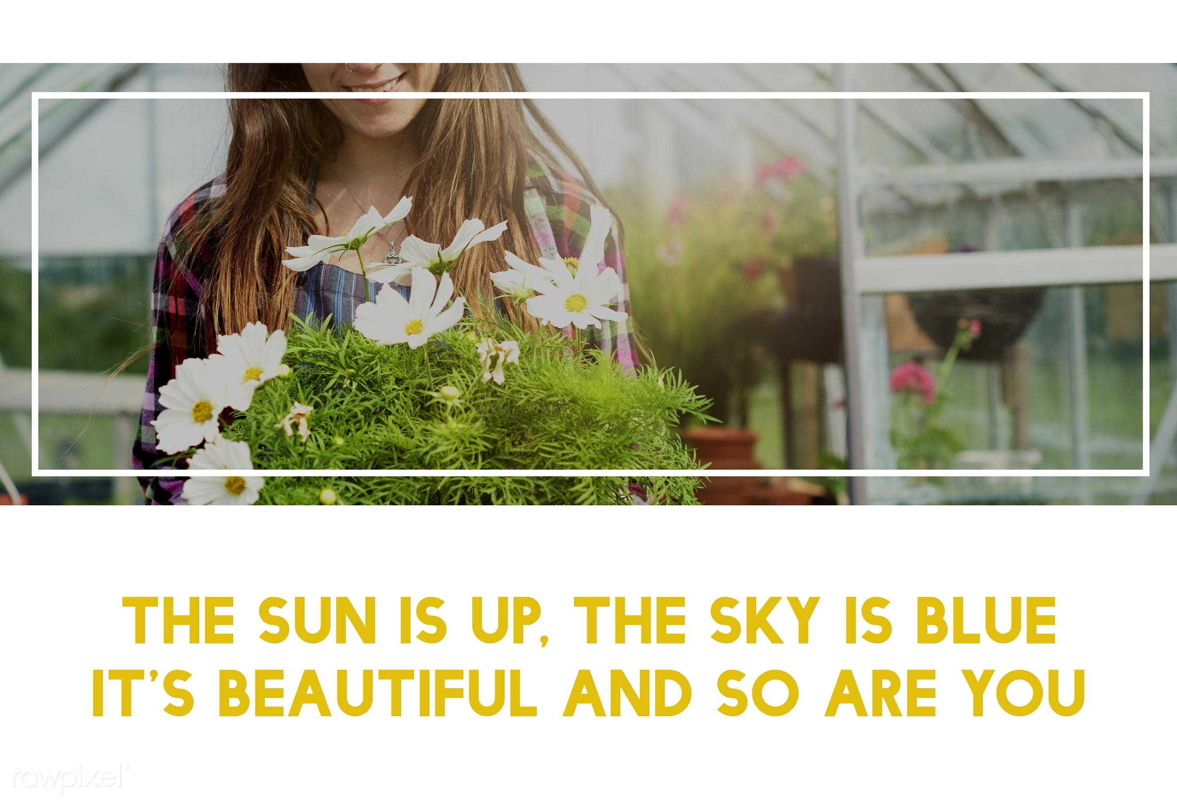 quote, 100% nature, always look on the bright side of life, apron, bloom, caucasian, dark blonde, female, flowerpot, flowers...