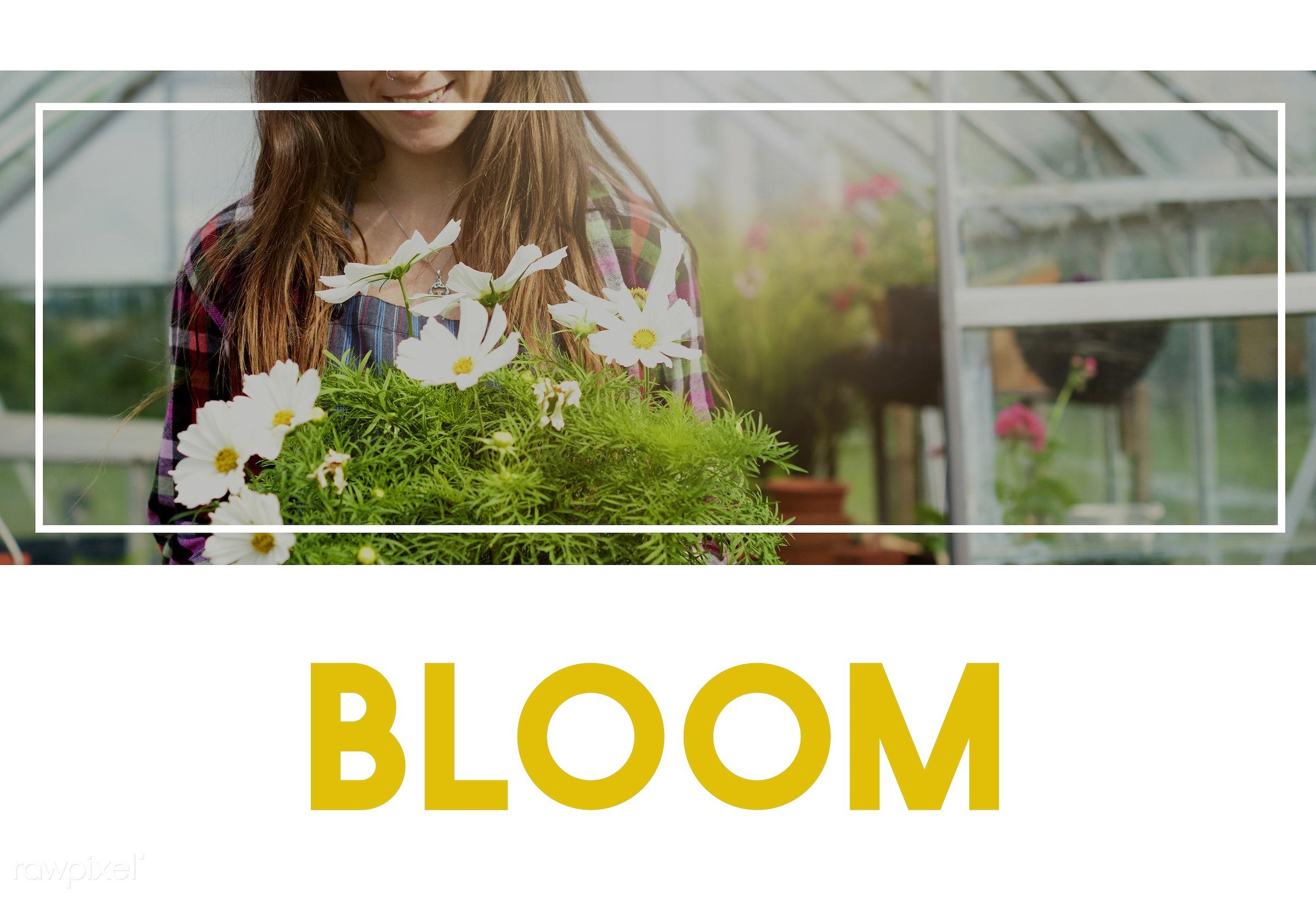 100% nature, always look on the bright side of life, apron, bloom, caucasian, dark blonde, female, flowerpot, flowers, fresh...