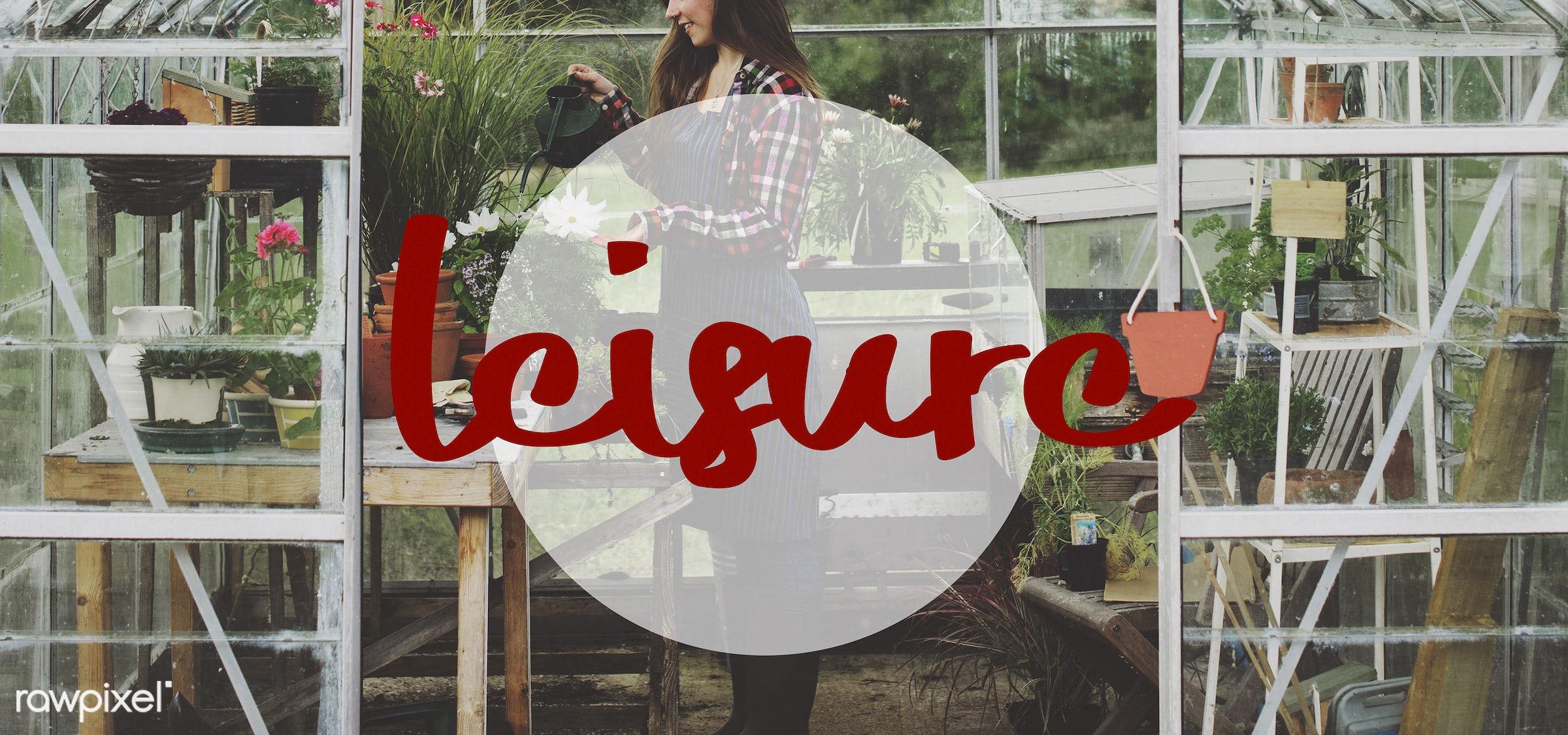 activity, adventure, apron, break, caucasian, chill, dark blonde, explore, female, flowerpot, flowers, garden, gardener,...