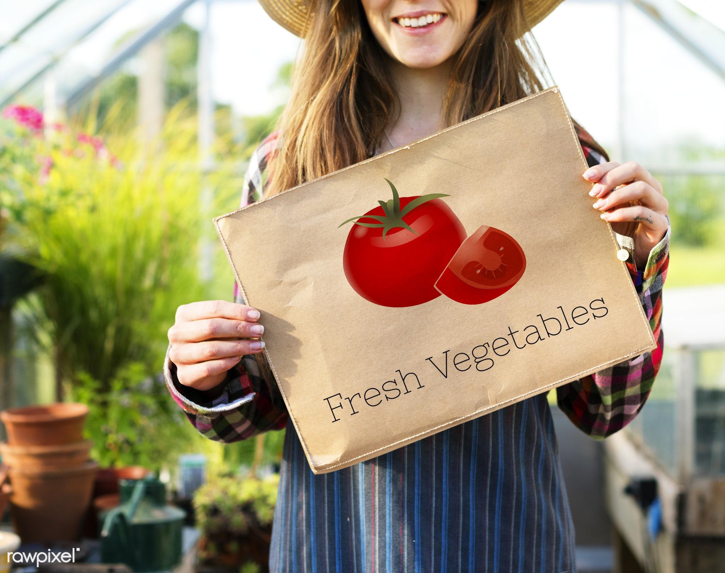 adult, agriculture, balance, benefits, caucasian, countryside, dark blonde, farm, female, flowers, food, fresh, gardening,...