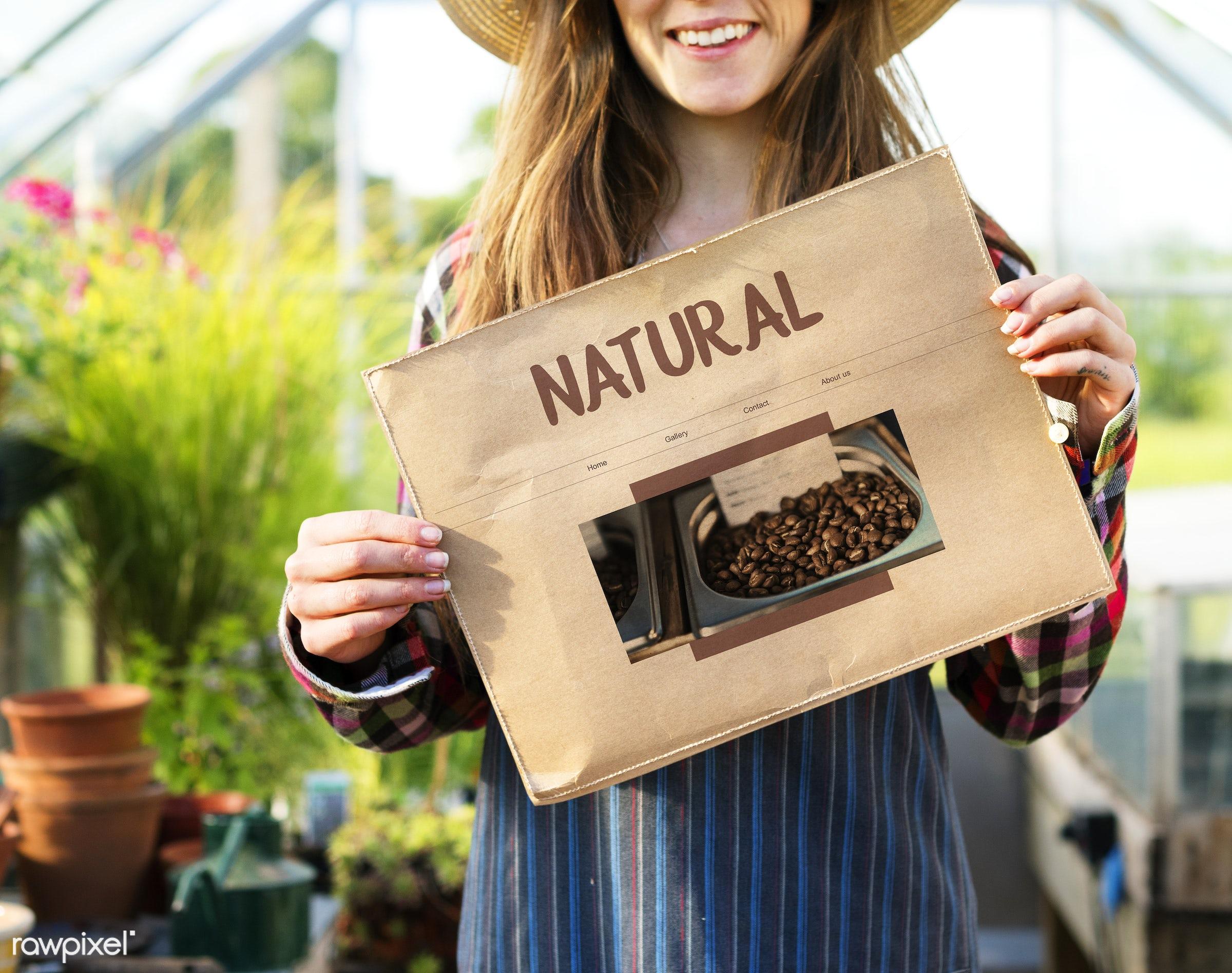 adult, agricultural, bio, caucasian, coffee, coffee bean, countryside, dark blonde, eco, ecology, farm, female, flowers,...