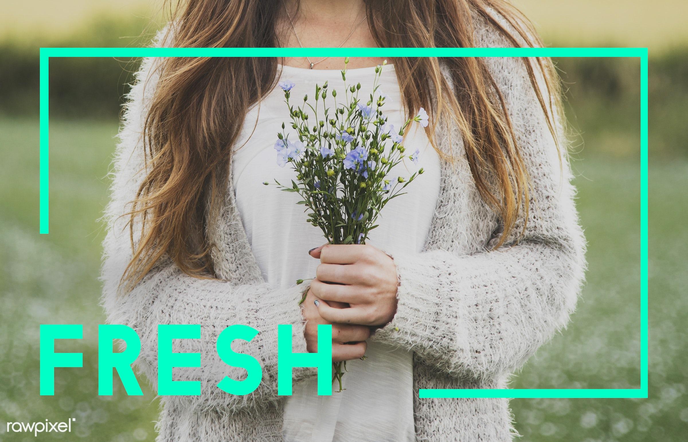 brand, caucasian, dark blonde, eco, ecology, environment, female, flower garden, flowers, fresh, friendly, garden, go, green...