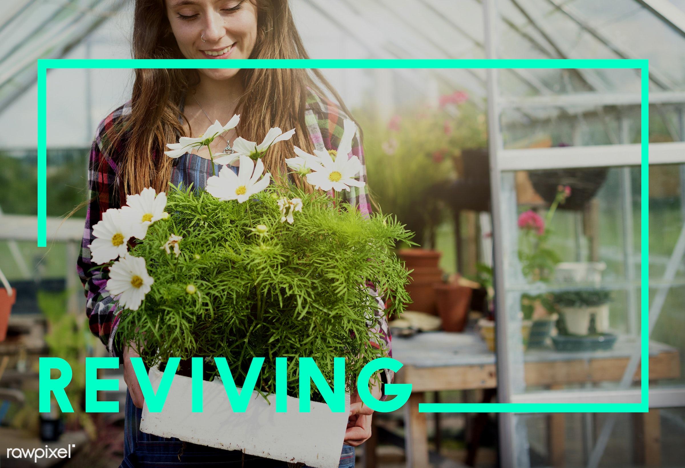apron, brand, captionadded, caucasian, dark blonde, eco, ecology, encourage, environment, female, flowerpot, flowers, fresh...