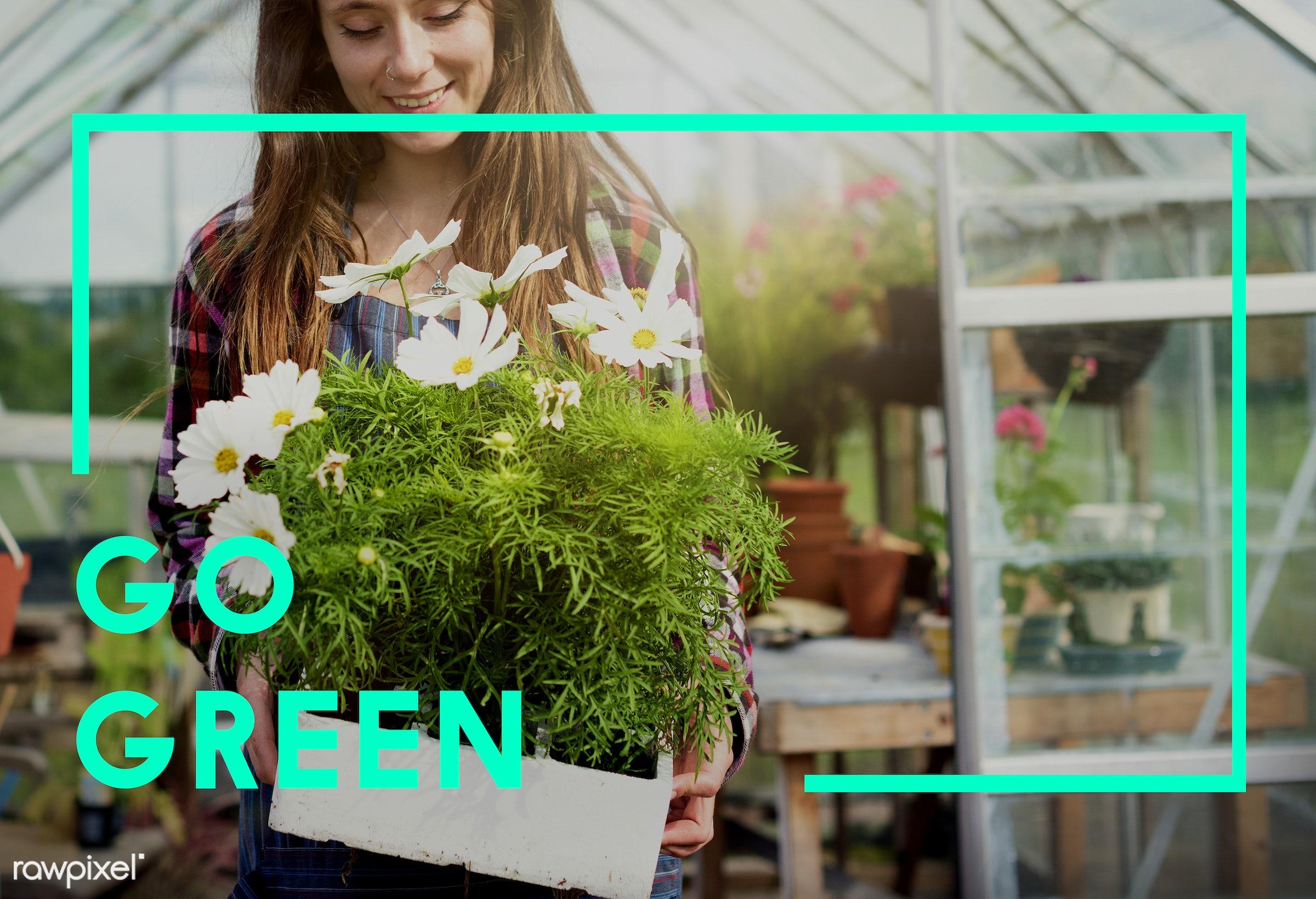 apron, brand, captionadded, caucasian, dark blonde, eco, ecology, environment, female, flowerpot, flowers, fresh, friendly,...