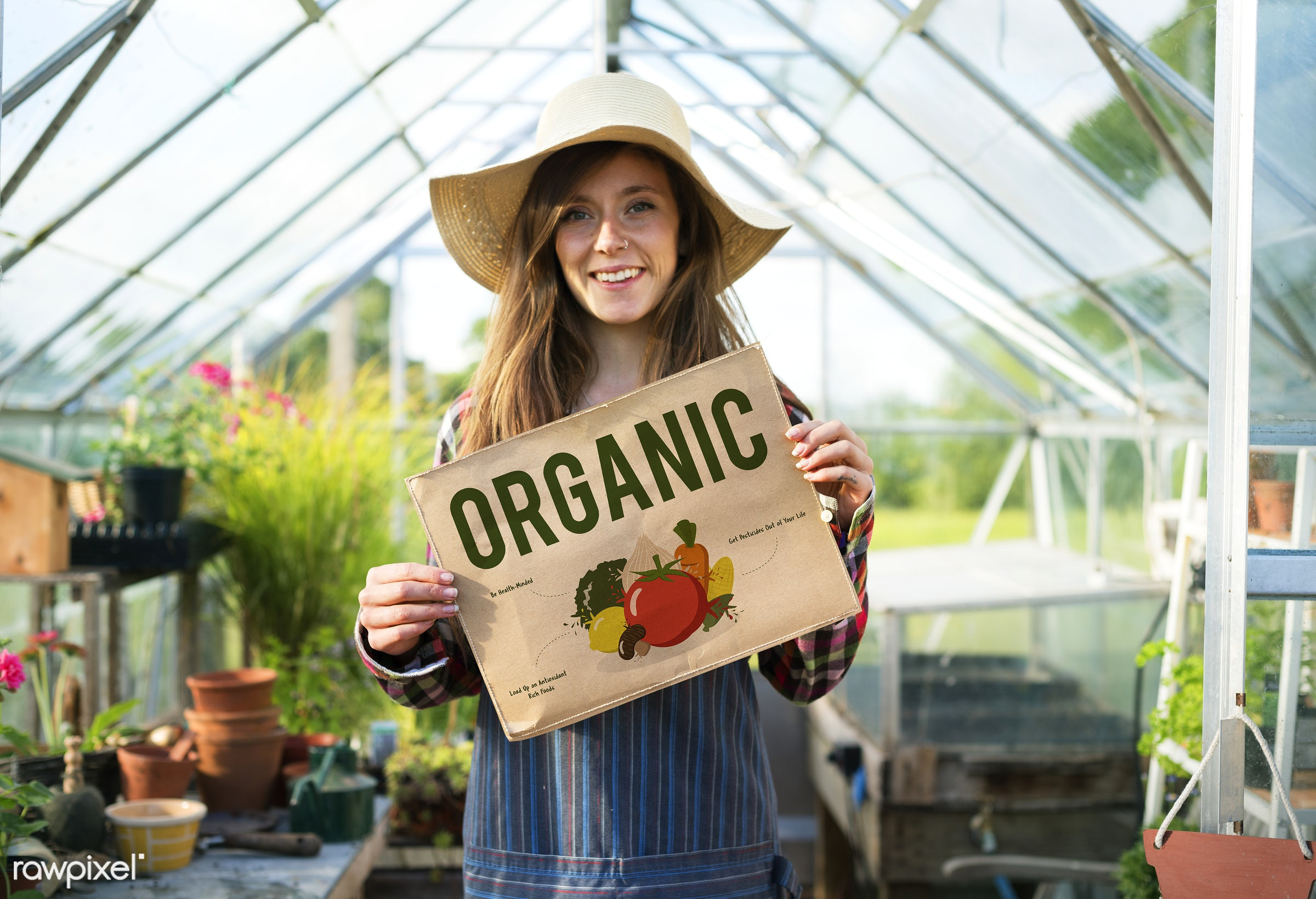 Young woman with organic vegetable - agriculture, backyard, bloom, botanical, botany, building, cares, countryside,...