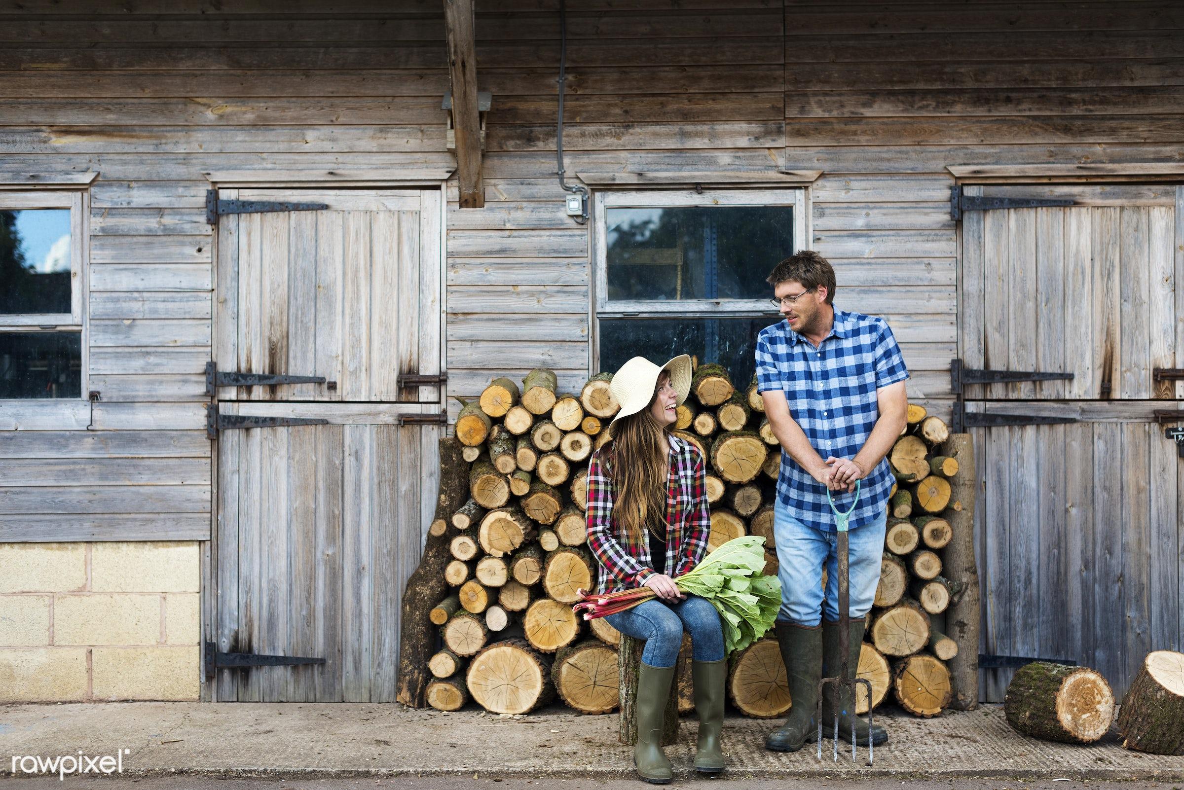 farmer, chopped, countryside, couple, cut, firewood, fuelwood, gardener, girl, heap, log, lumber, lumberyard, nature, pile,...