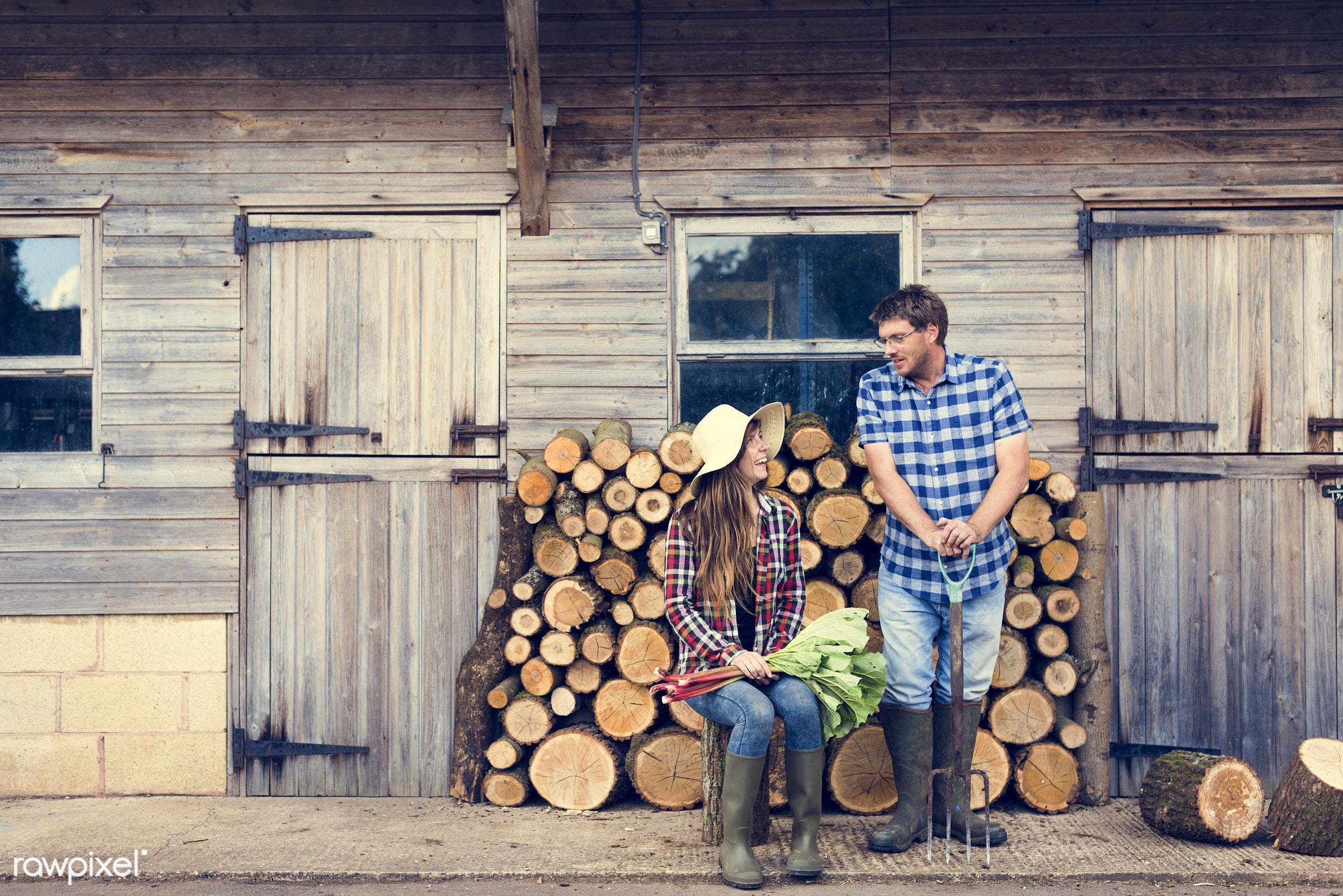 chopped, countryside, couple, cut, farmer, firewood, fuelwood, gardener, girl, heap, log, lumber, lumberyard, nature, pile,...