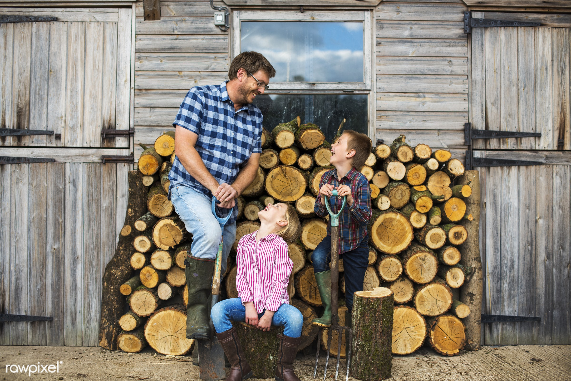 chopped, countryside, cut, dad, farmer, father, firewood, fuelwood, gardener, girl, heap, log, lumber, lumberyard, nature,...