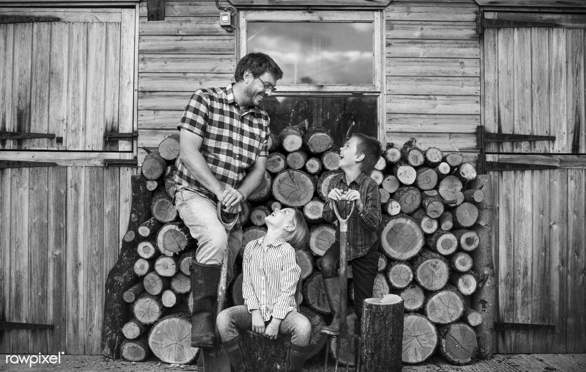 chopped, countryside, cut, dad, farmer, father, firewood, fuelwood, gardener, girl, heap, log, lumber, lumberyard, nature,...