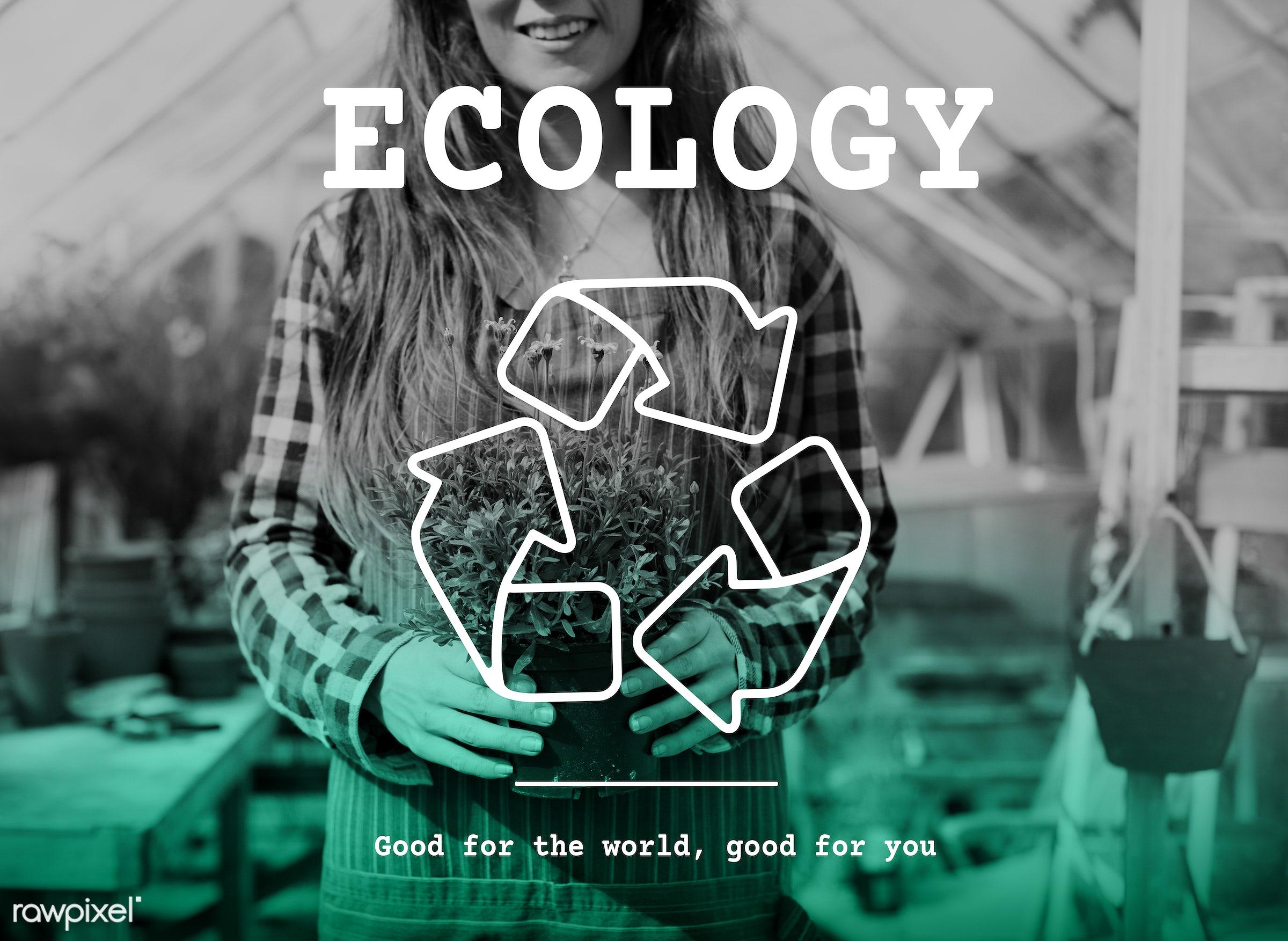 arrow, environment, trash, apron, bio, care, caucasian, dark blonde, eco, ecology, element, female, flowerpot, flowers,...