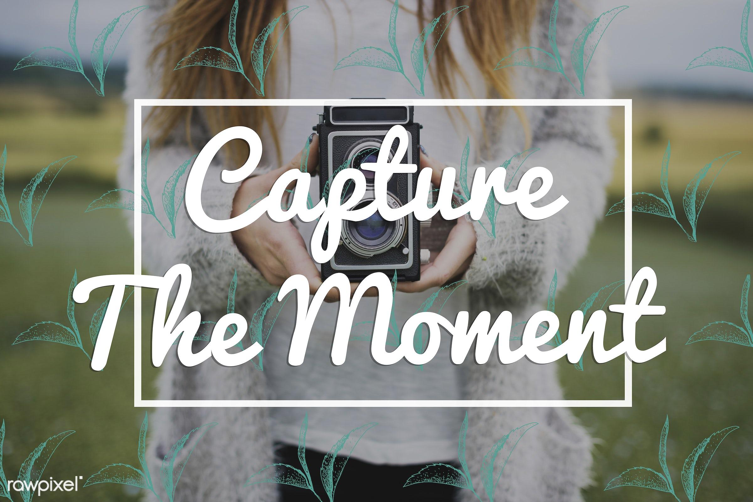 camera, capture, caucasian, cold, dark blonde, female, feminine, grass, hands, hobby, holding, journalism, land, leisure,...