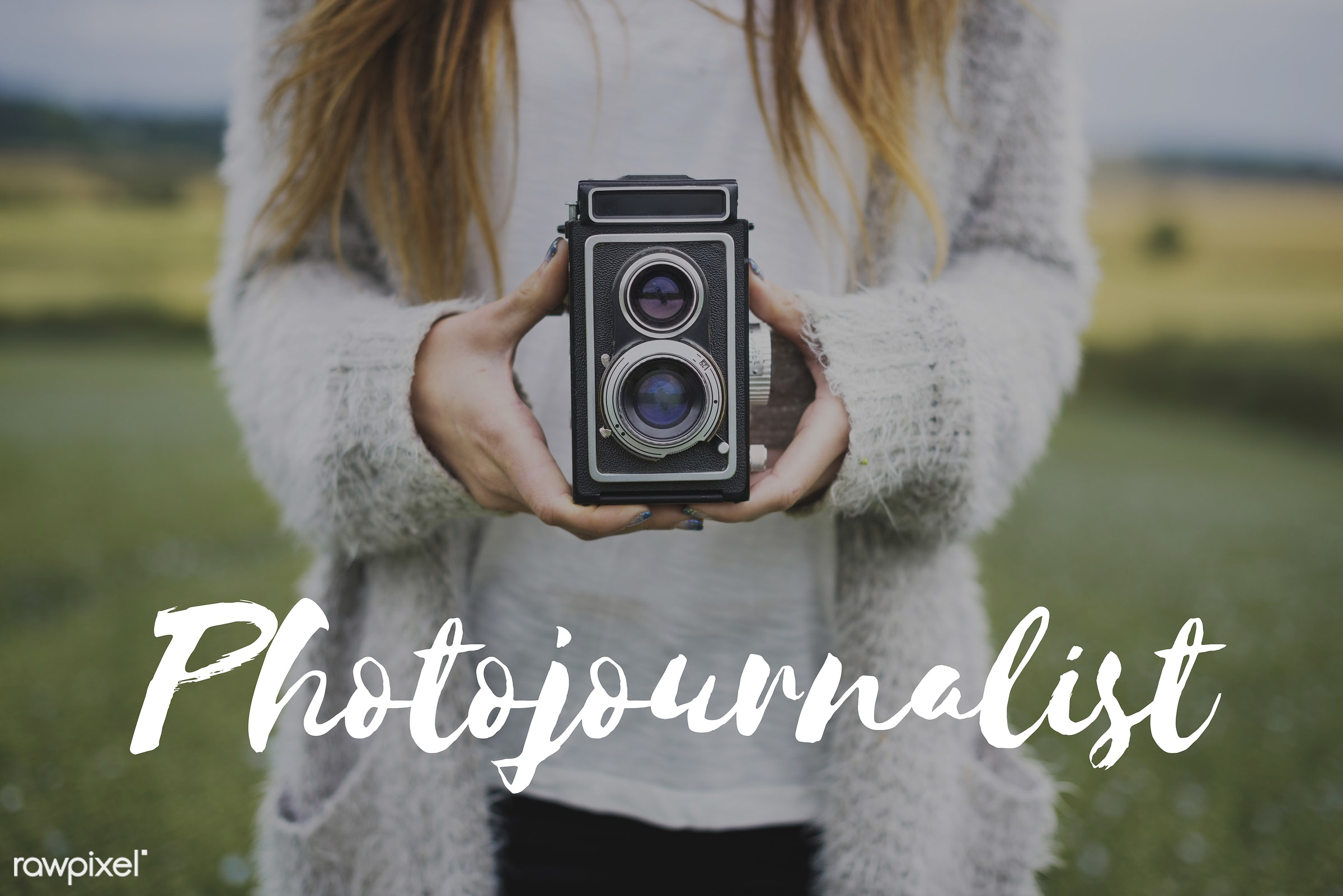 camera, capture, caucasian, cold, dark blonde, female, feminine, grass, hands, hobby, holding, journalism, land, leisure,...