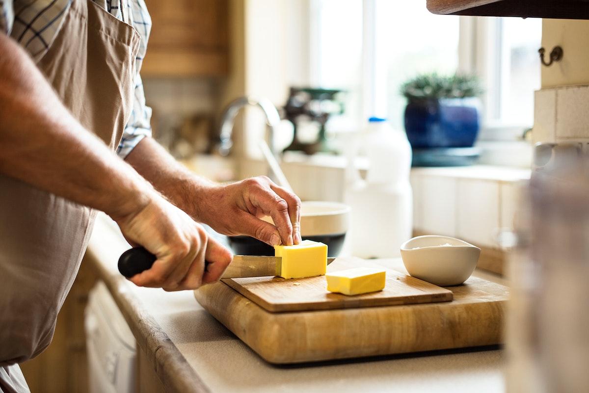 Caucasian man baking scones at home