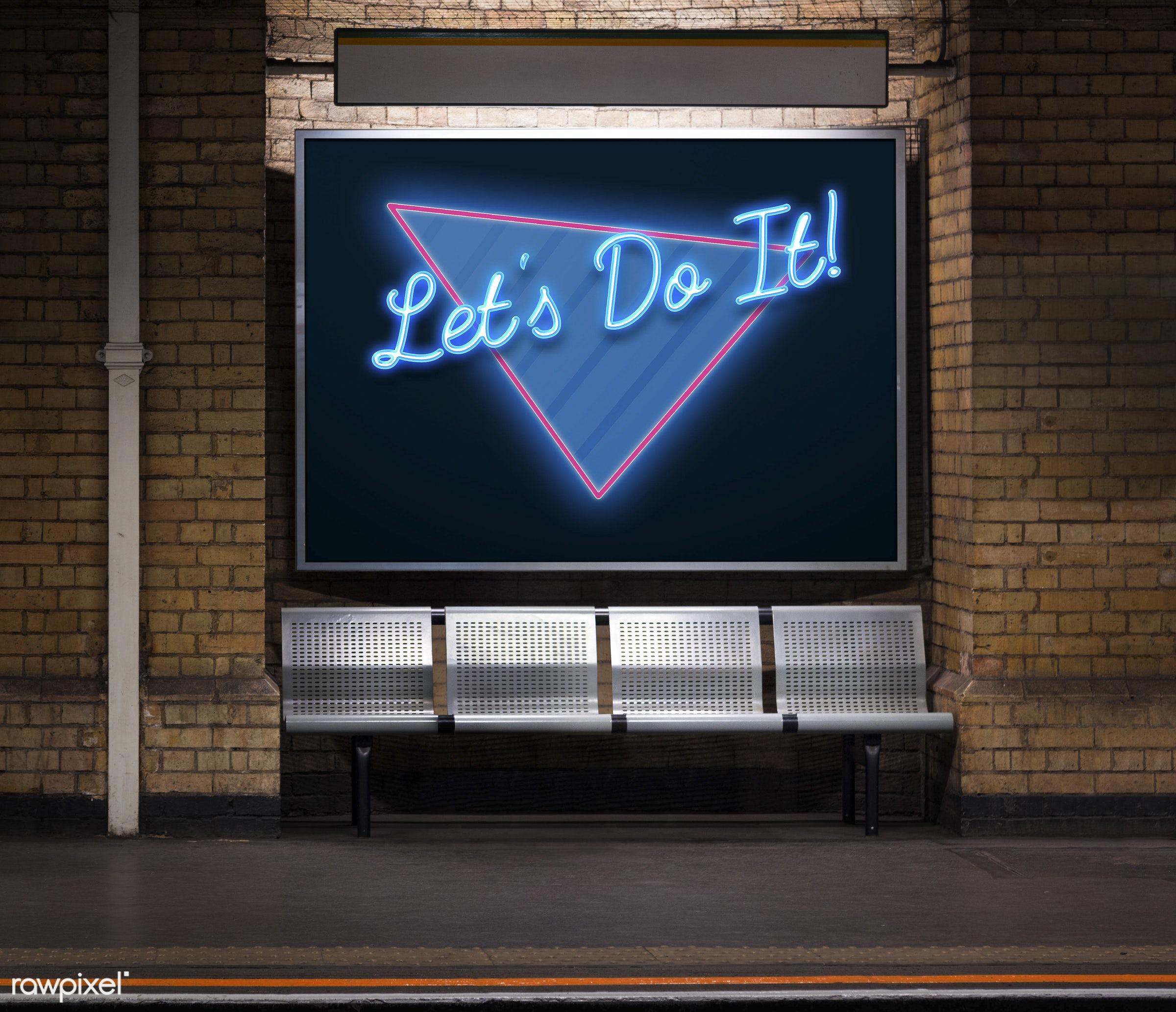 aspiration, bricks, brickswall, effect, graphic, handwriting, let's do it, make it happen, motivation, new ways, nobody,...