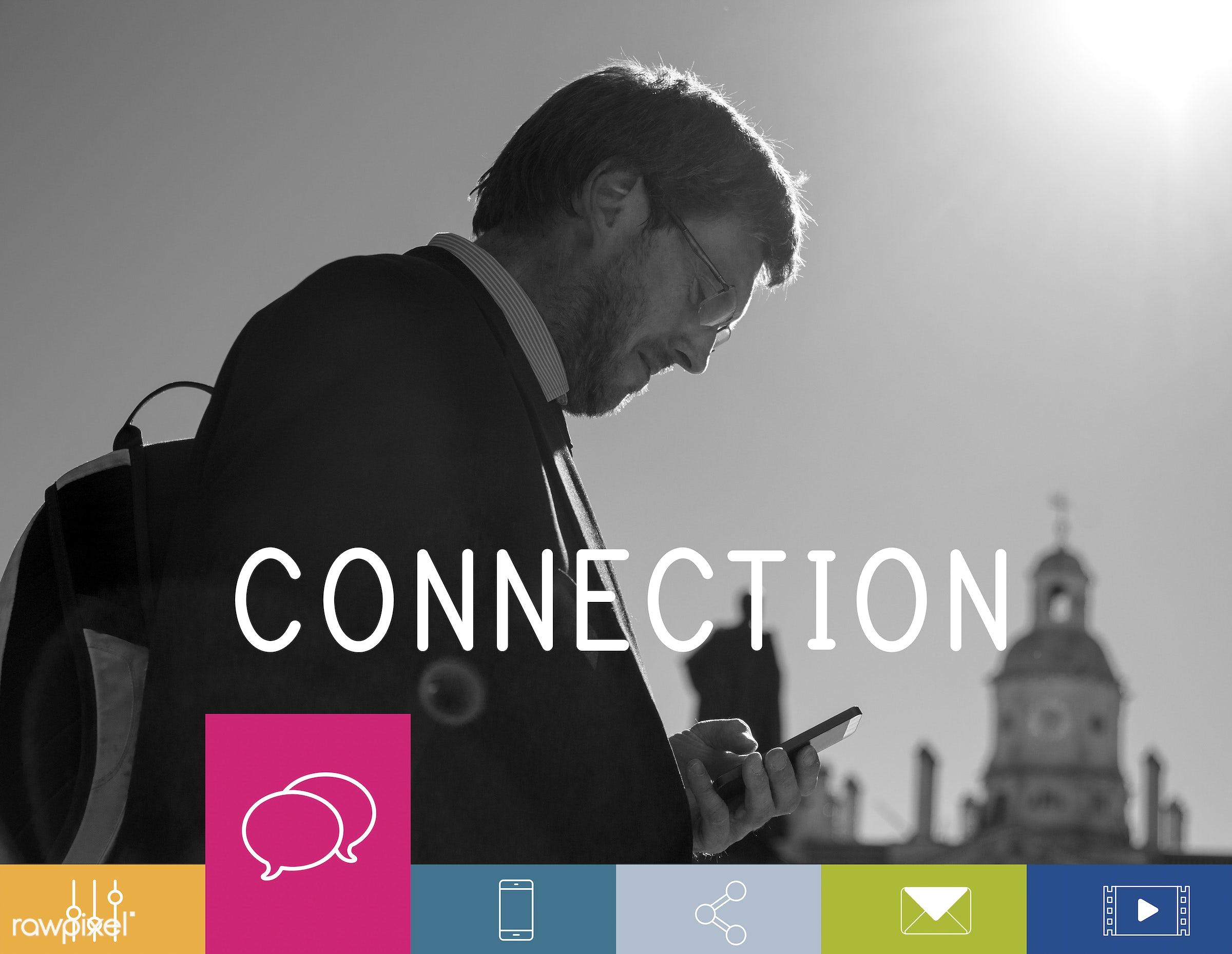 adult, bag, bubble chat, building, business, businessmen, button, caucasian, cellphone, chat, communication, community,...