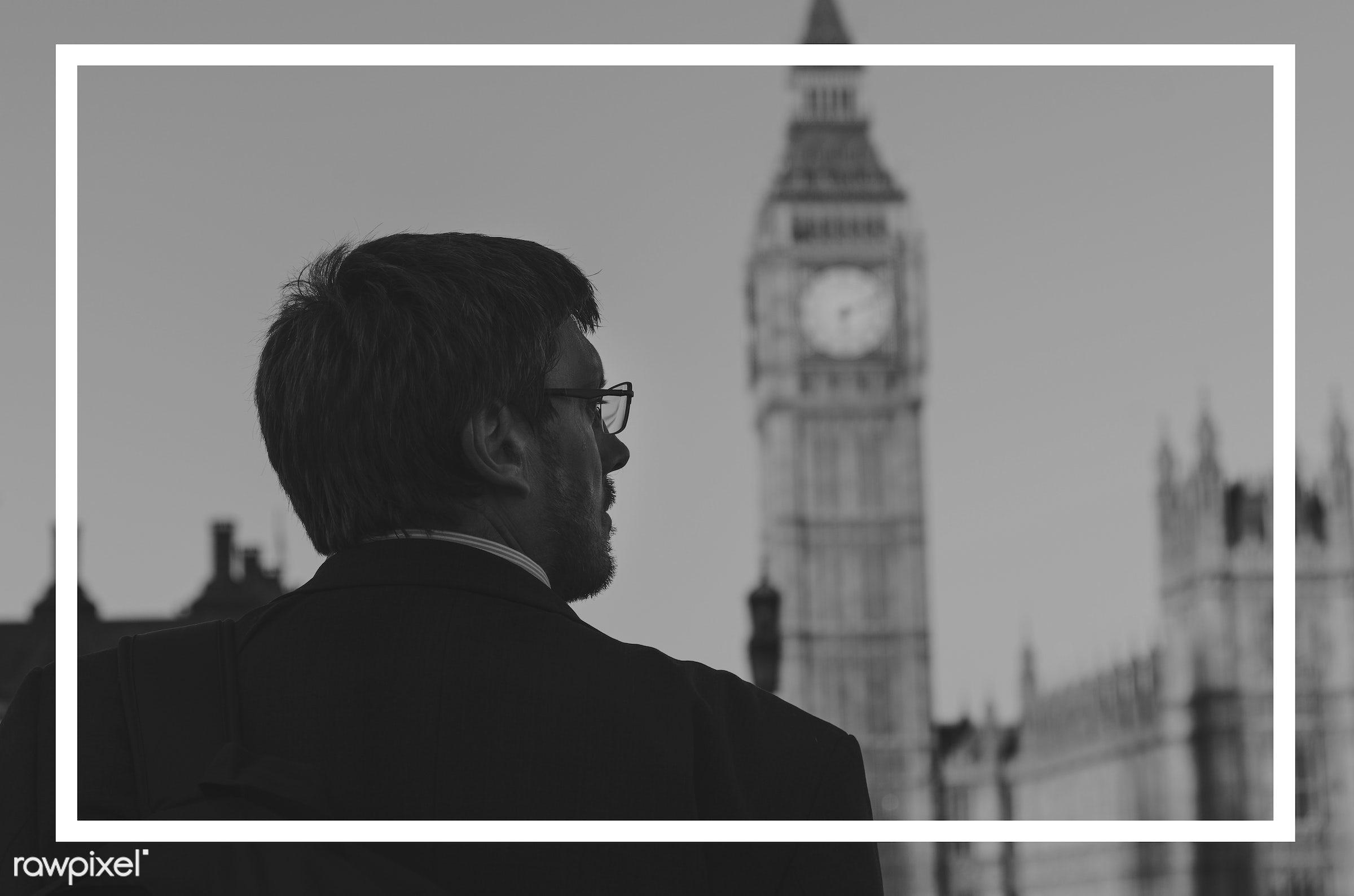 big ben, blank, border, box, britain, building, business, businessmen, clock, england, frame, framework, london, looking,...